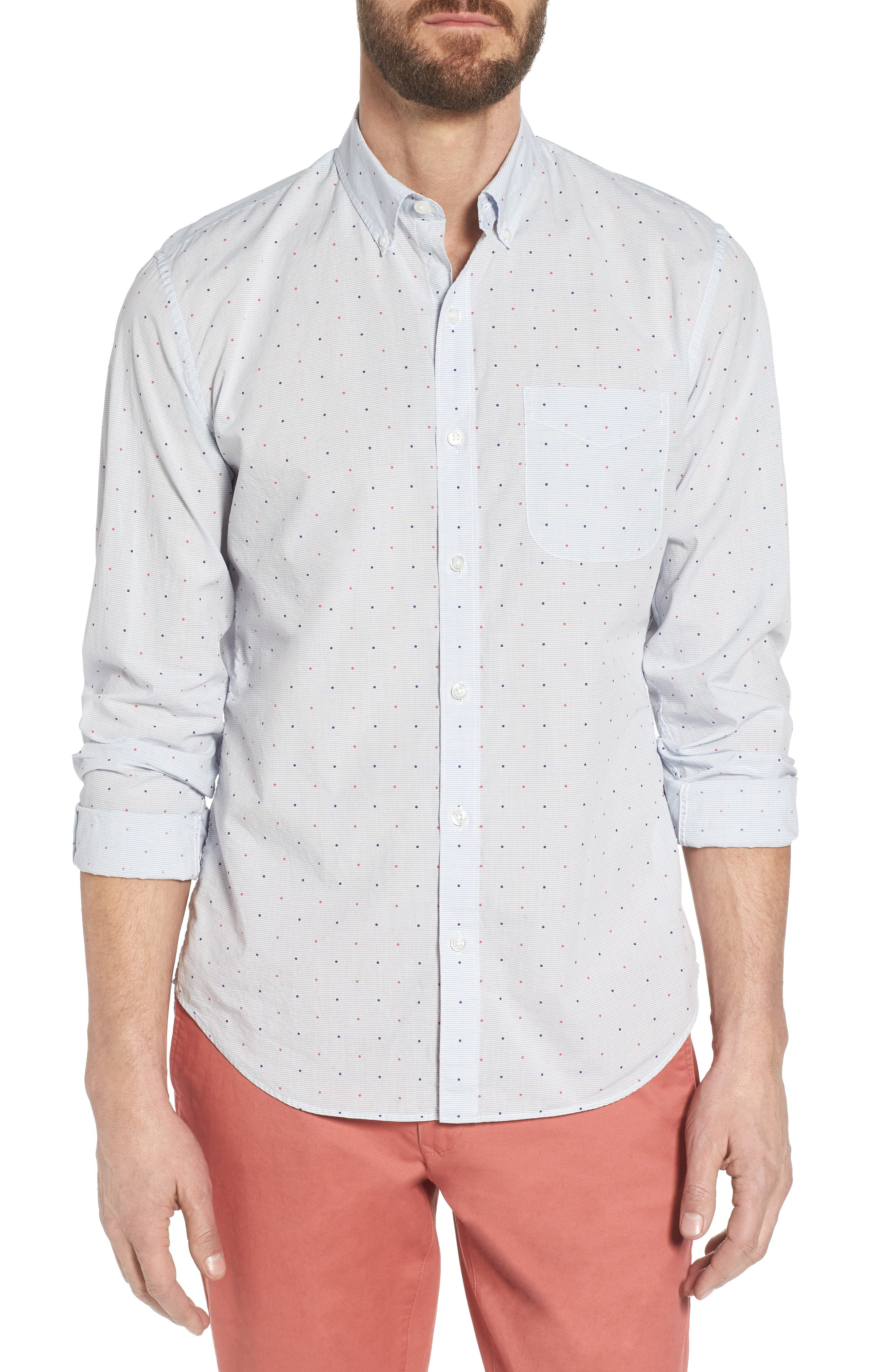 Slim Fit Dot Sport Shirt,                         Main,                         color, Houndslow Dot - Della Blue