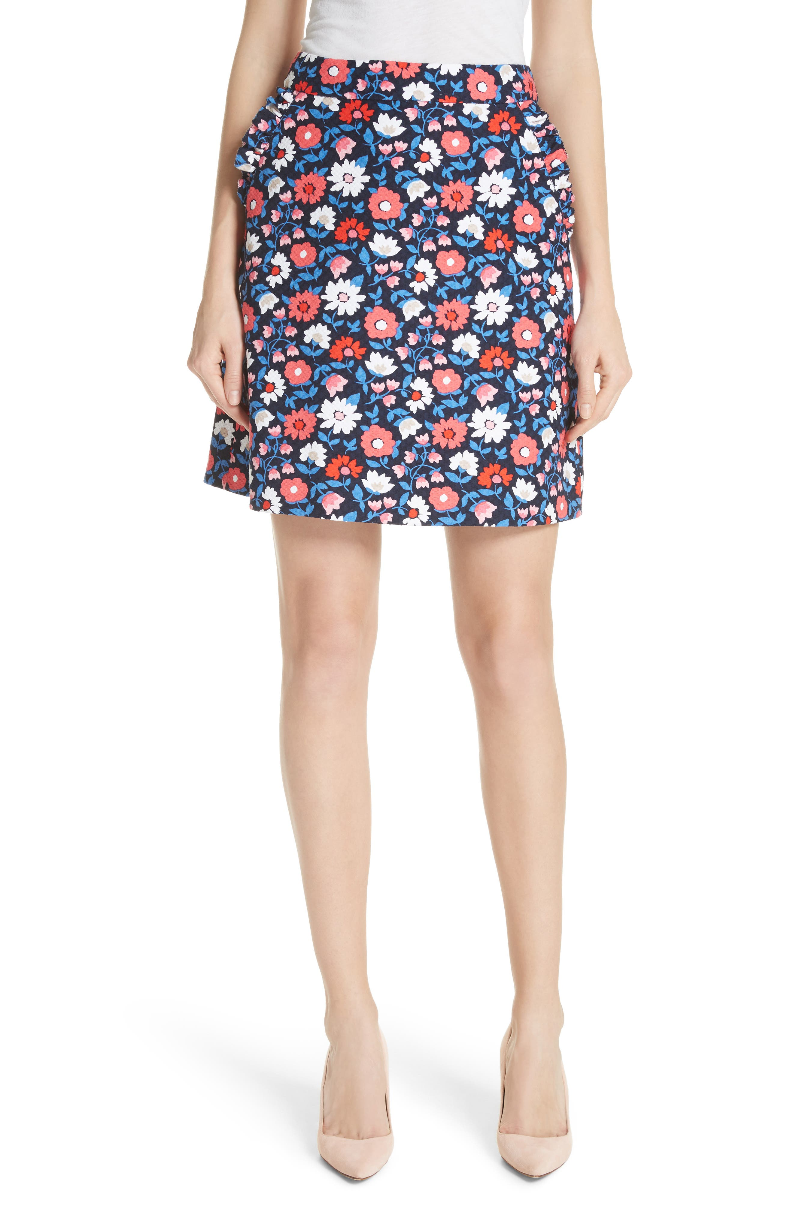 daisy jacquard A-line skirt,                         Main,                         color, Rich Navy