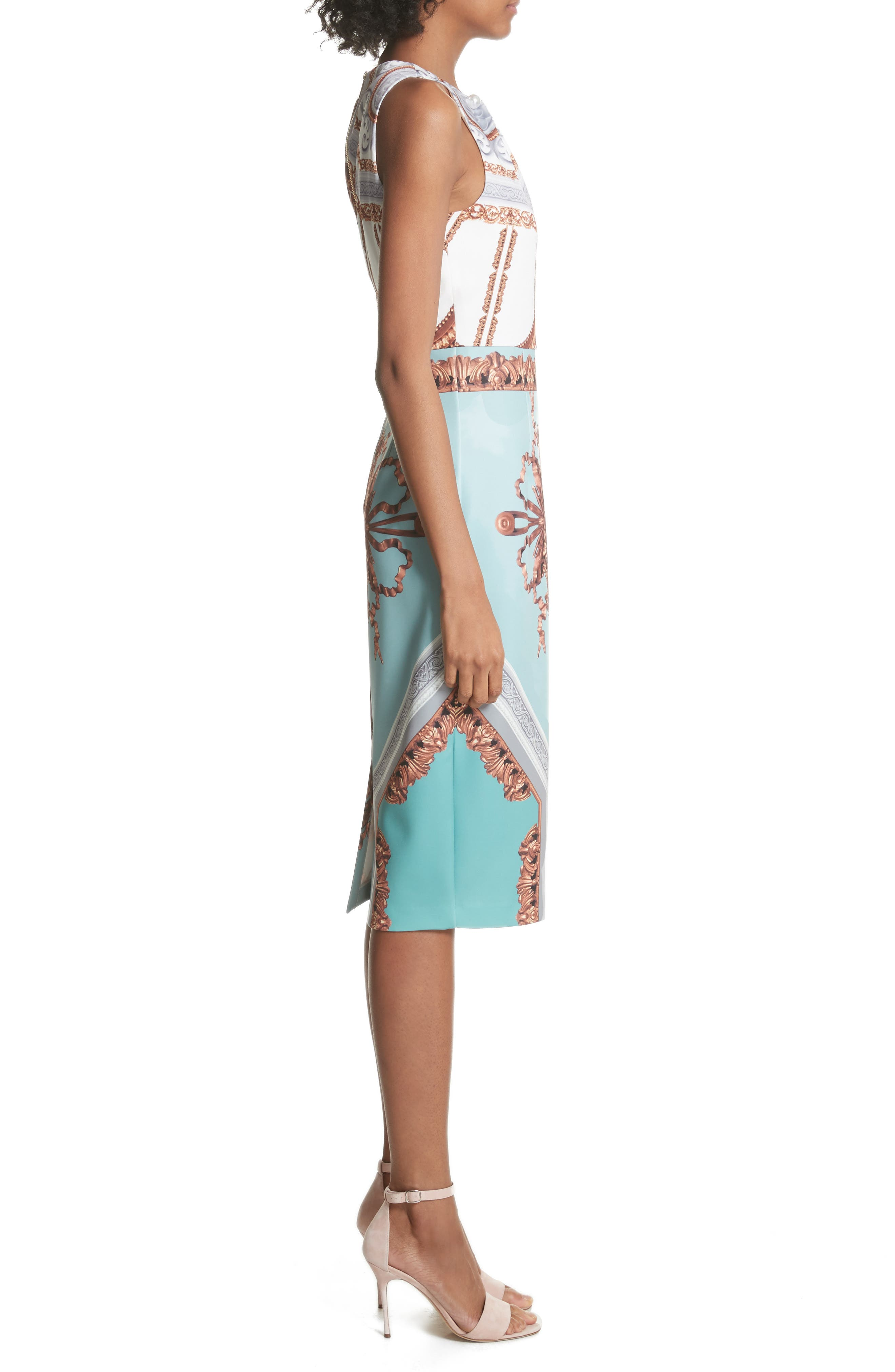 Orlla Embellished Midi Dress,                             Alternate thumbnail 3, color,                             Teal