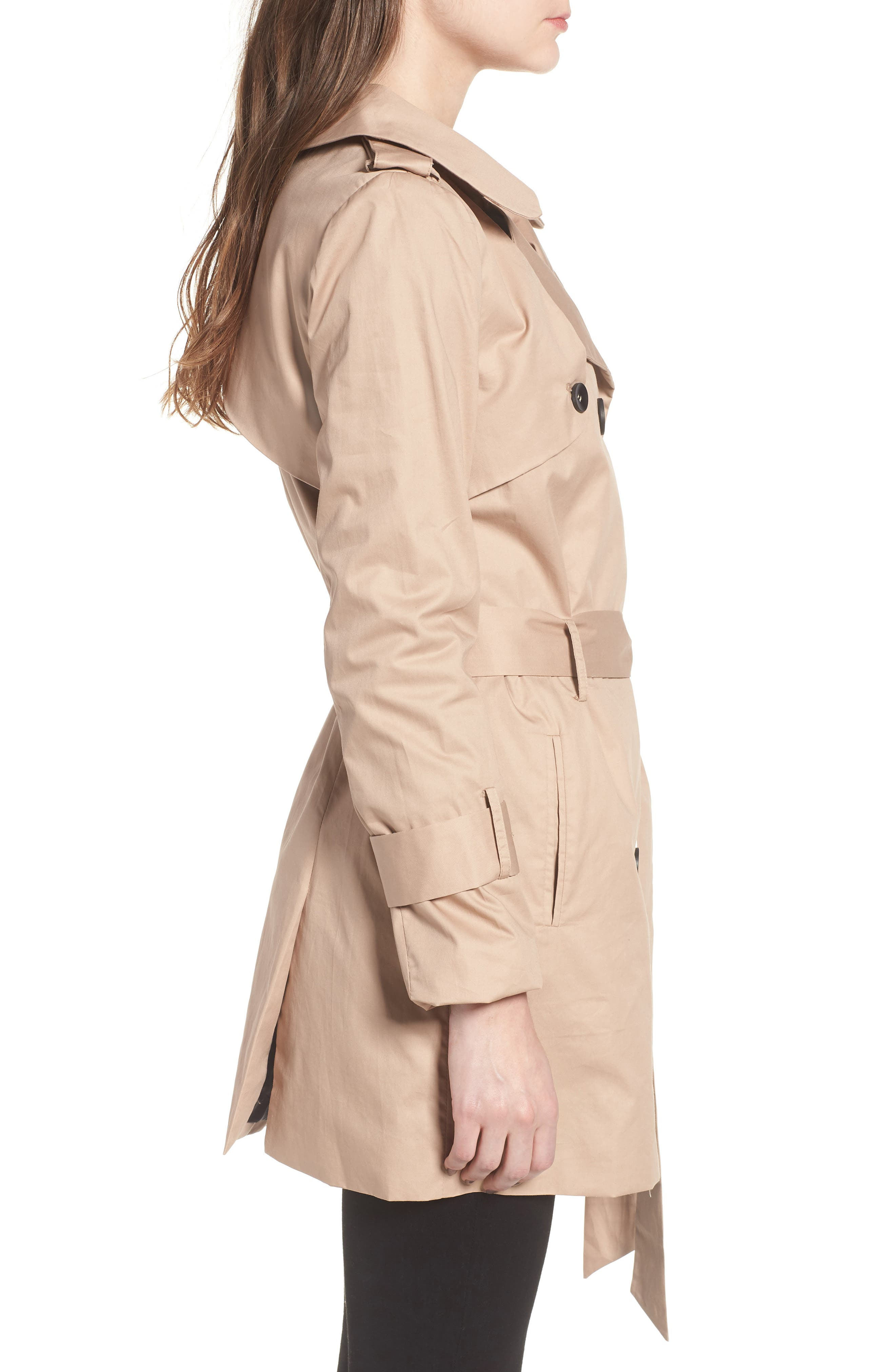 Moss Trench Coat,                             Alternate thumbnail 3, color,                             Sand