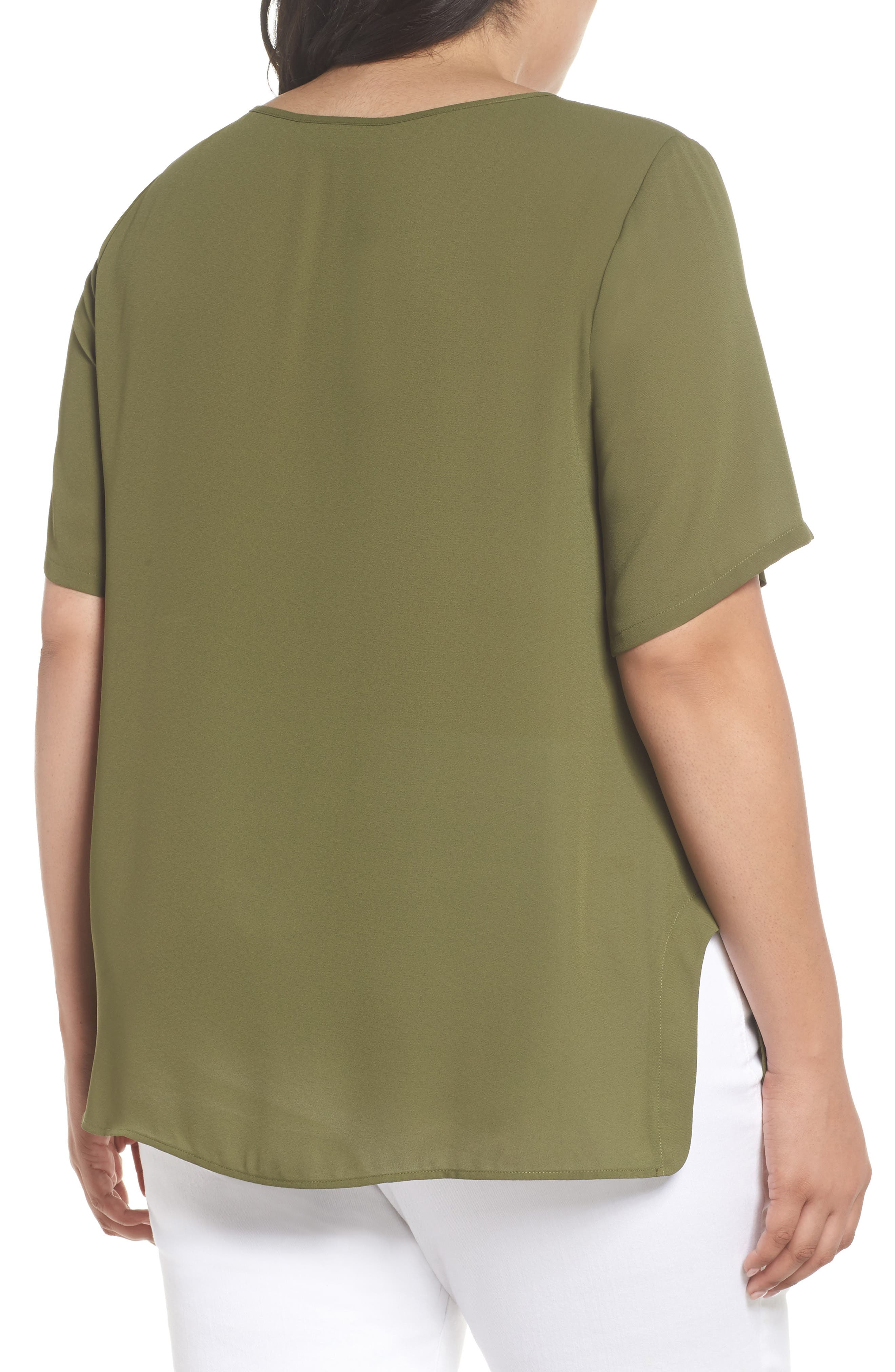 Curved High/Low Top,                             Alternate thumbnail 2, color,                             Olive Moss
