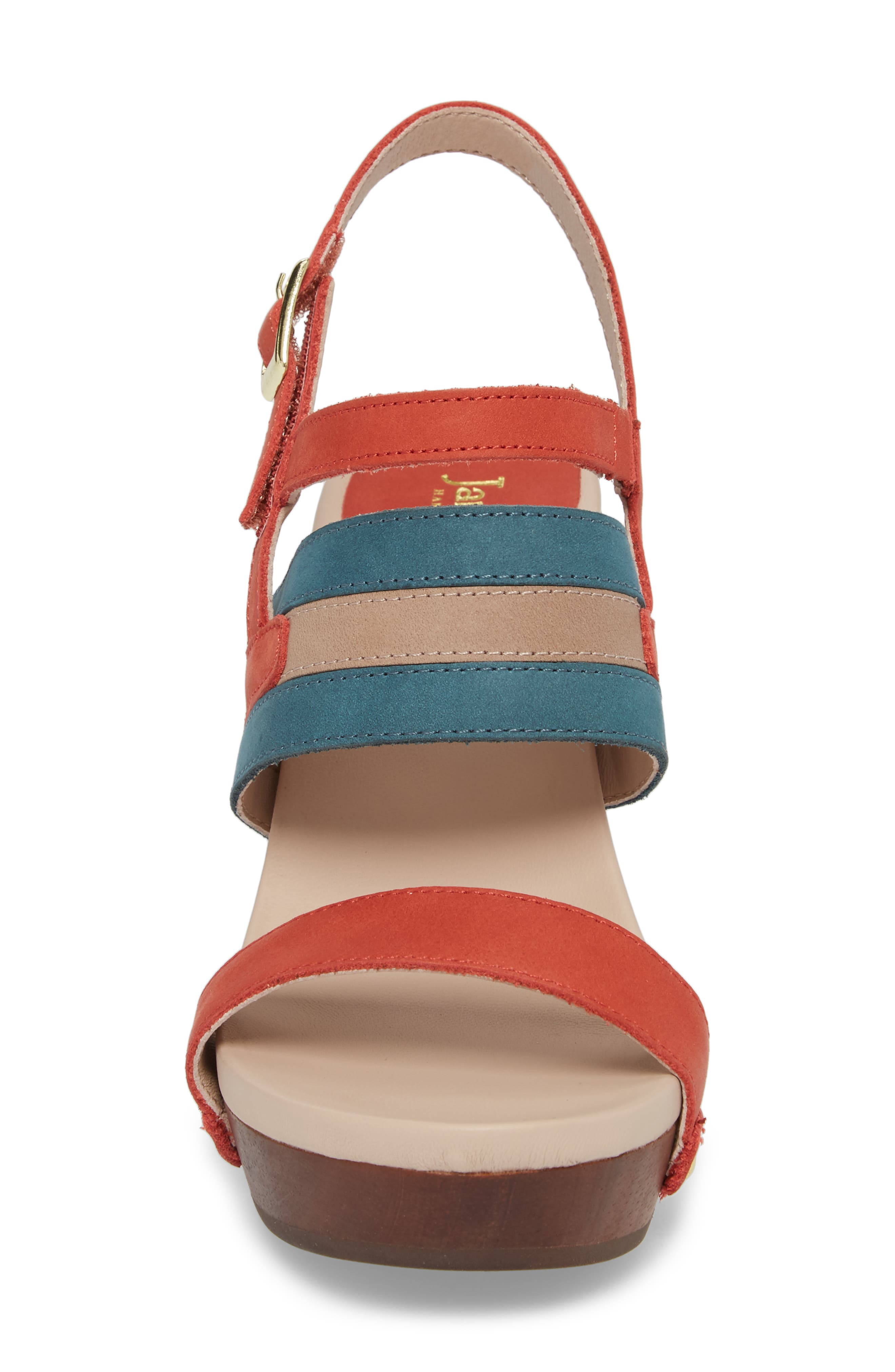 Viola Platform Sandal,                             Alternate thumbnail 4, color,                             Coral/ Teal Nubuck