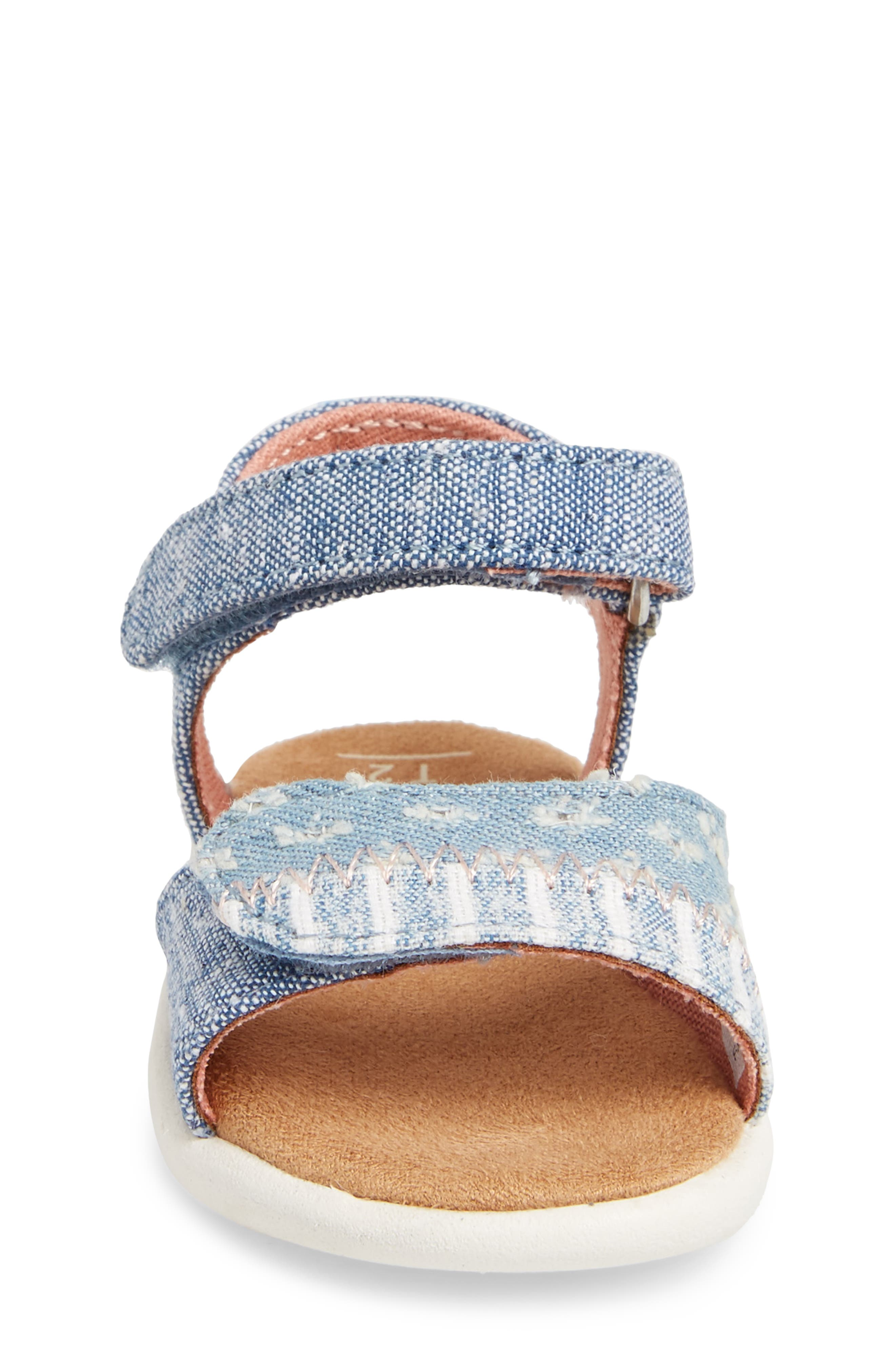 Strappy Sandal,                             Alternate thumbnail 4, color,                             Blue Slub Chambray