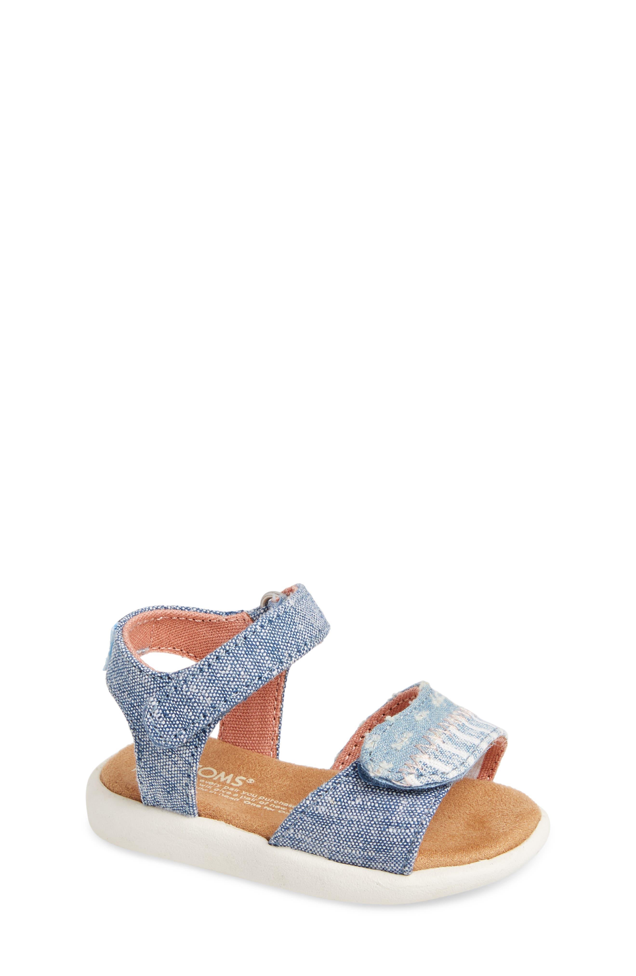 Strappy Sandal,                         Main,                         color, Blue Slub Chambray