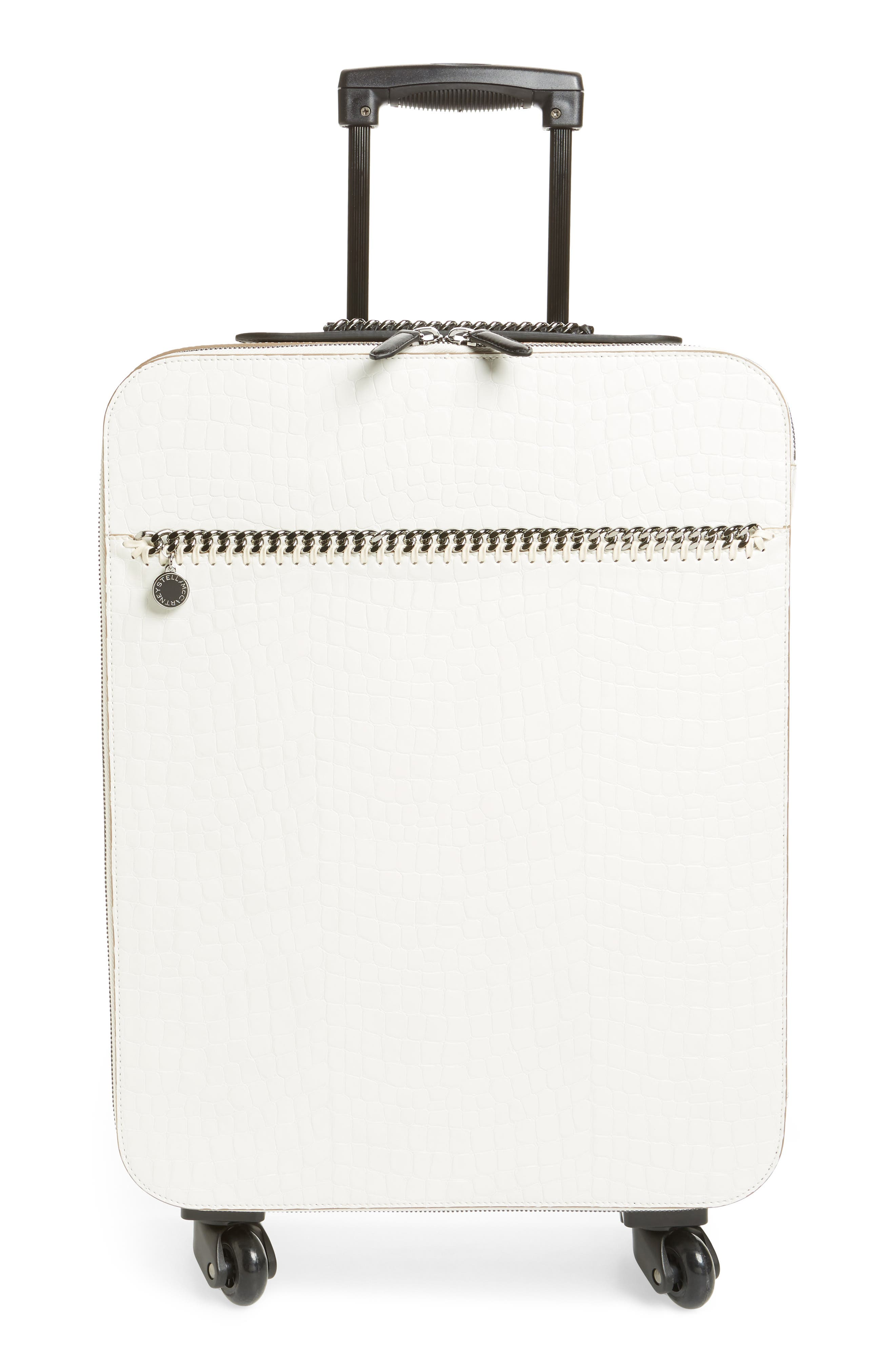 20-Inch Alter Croc Faux Leather Trolley Case,                             Main thumbnail 1, color,                             Ivory