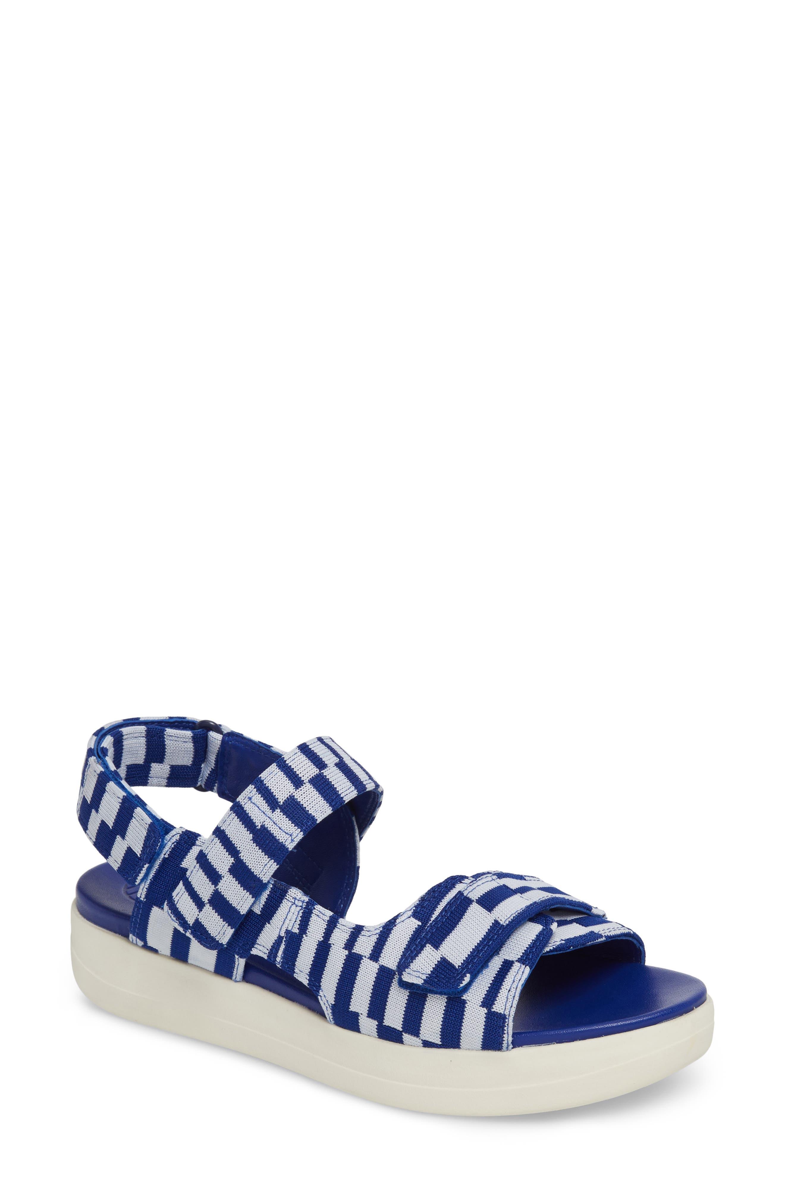 Flatform Sandal,                             Main thumbnail 1, color,                             Check Slalom Blue