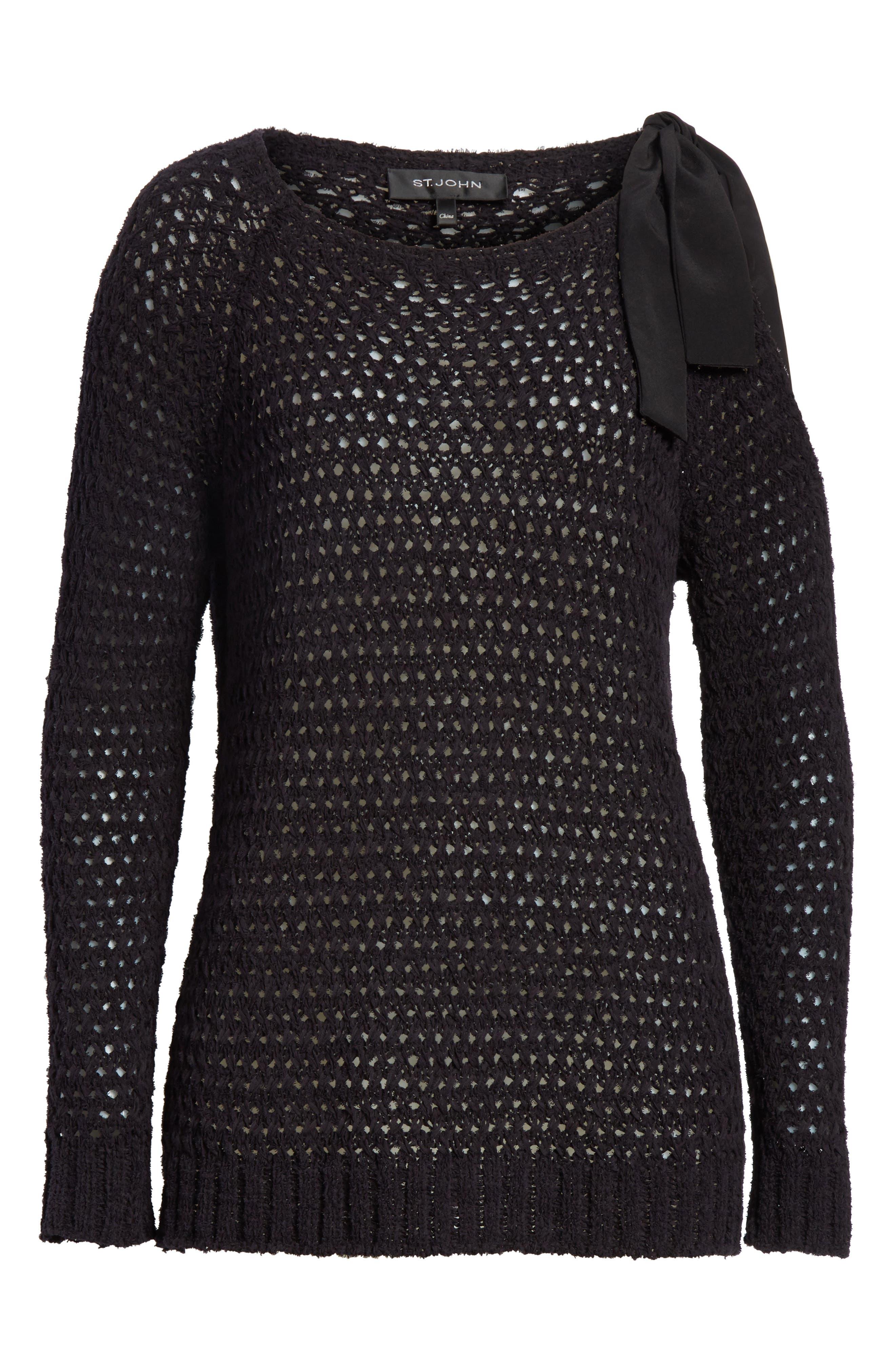 Crisscross Open Stitch Cold Shoulder Sweater,                             Alternate thumbnail 7, color,                             Caviar