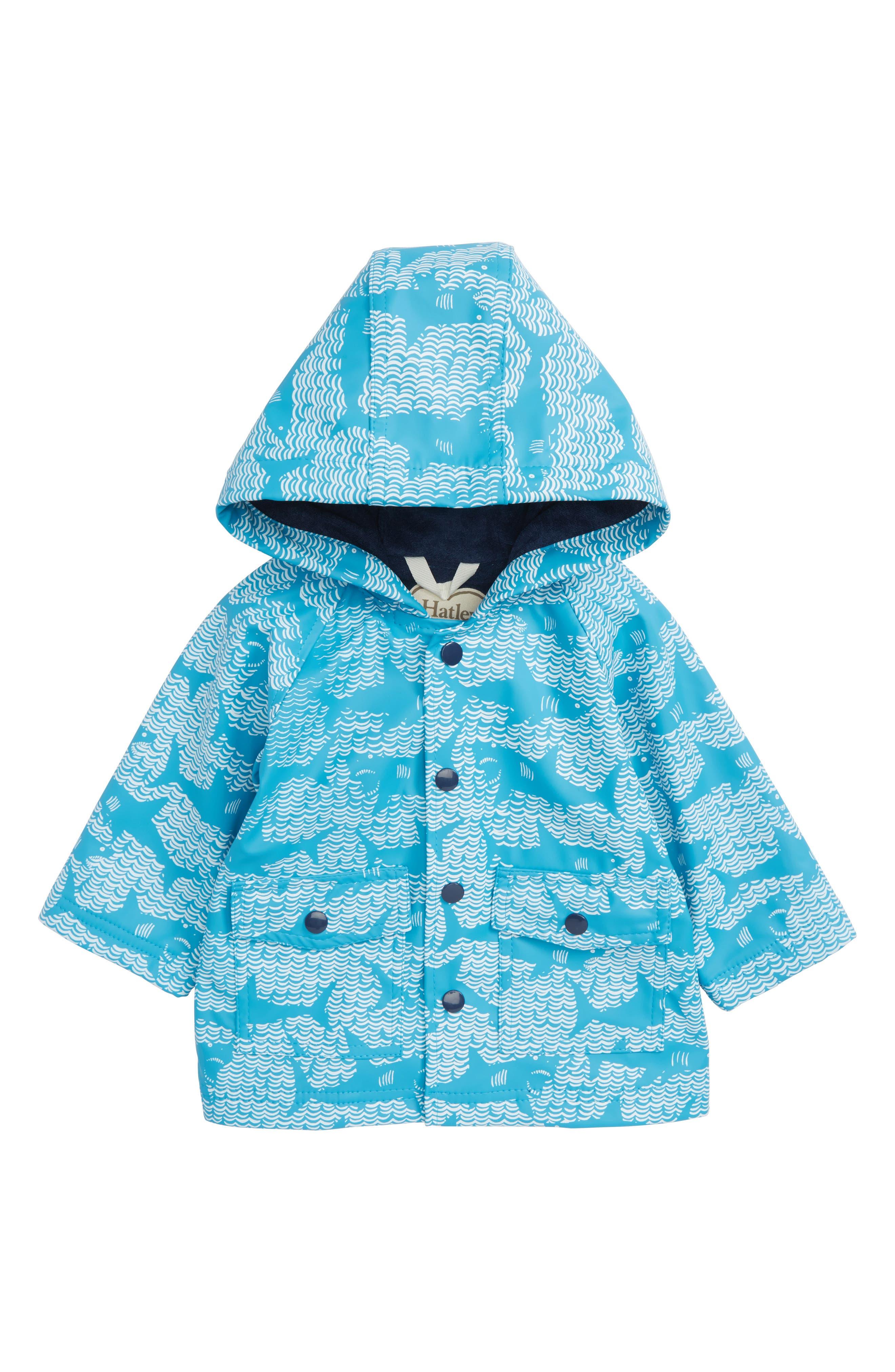 Shark Alley Hooded Raincoat,                             Main thumbnail 1, color,                             Shark Alley