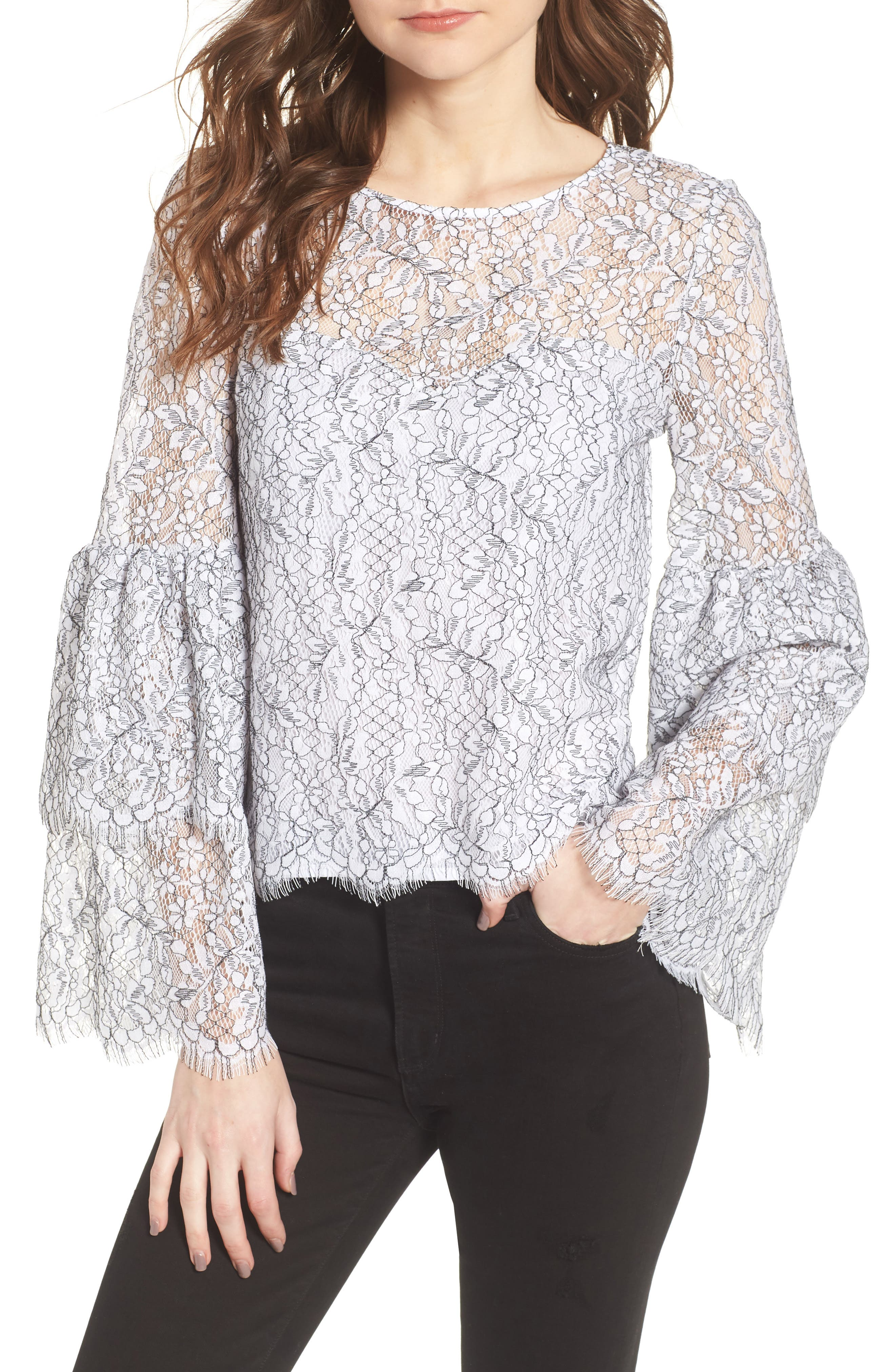 Basswood Lace Top,                         Main,                         color, Ivory