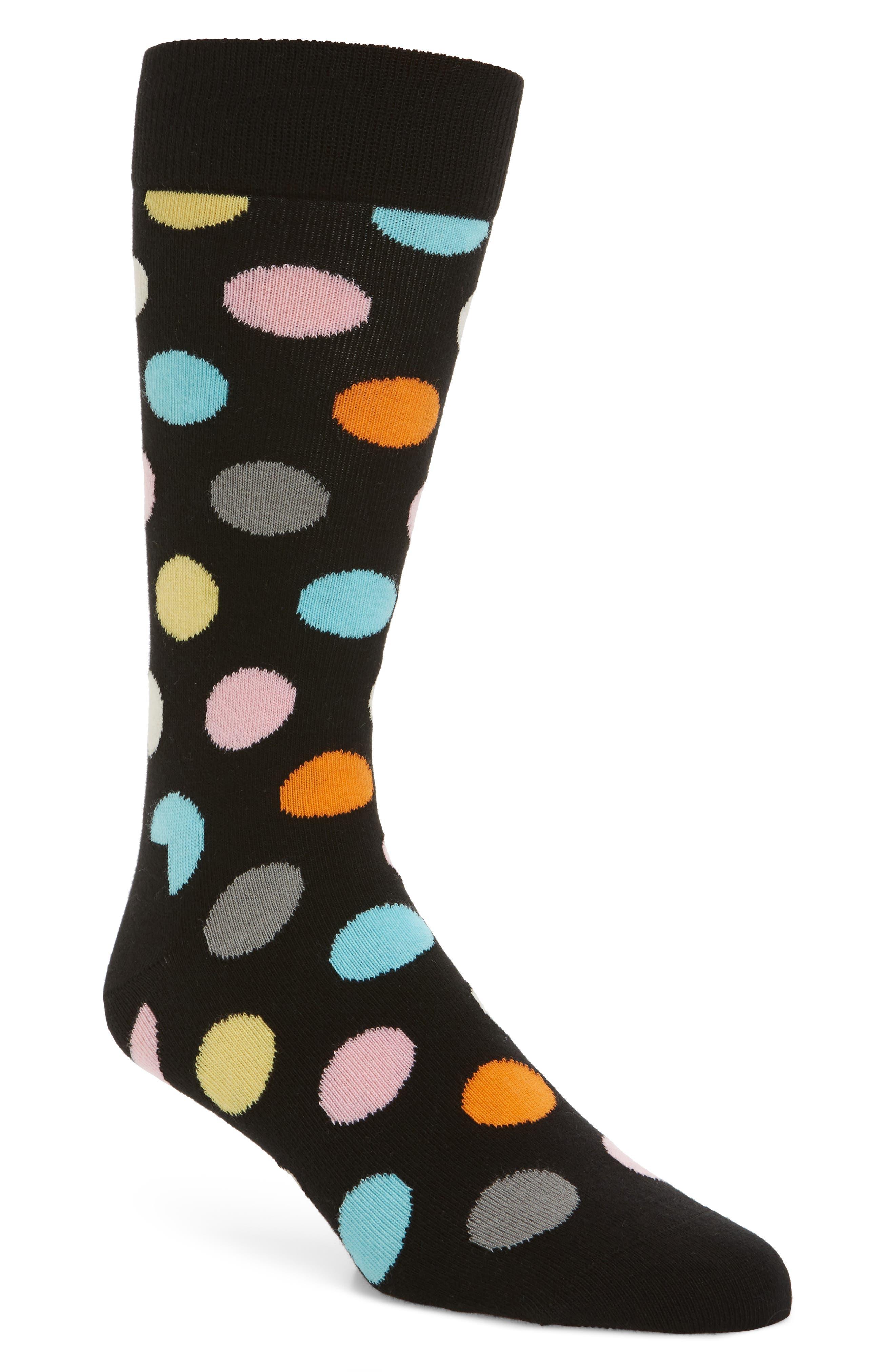 Big Dot Pattern Socks,                         Main,                         color, Black Multi