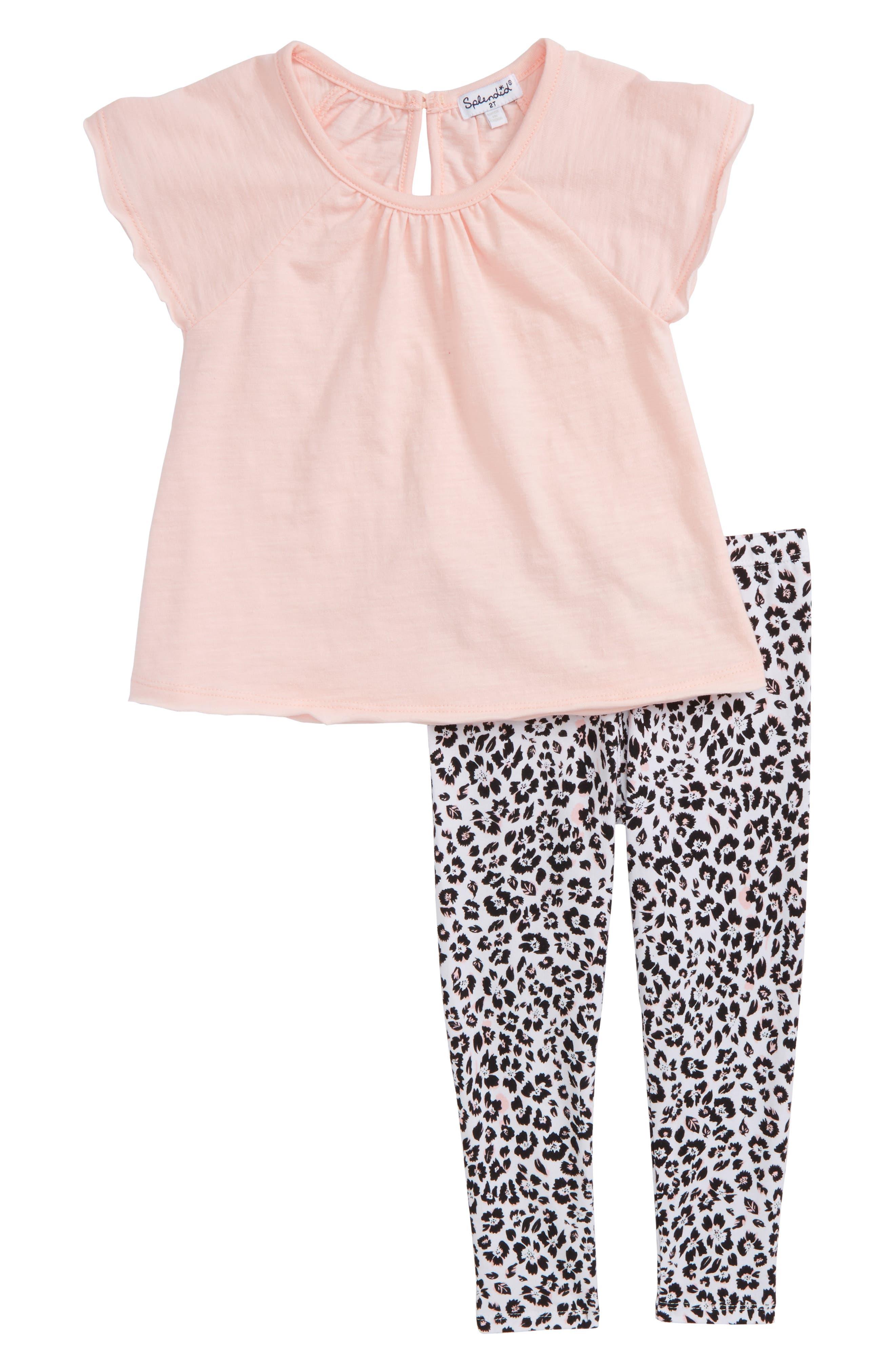 Swing Top & Floral Print Leggings Set,                         Main,                         color, Seafoam Pink