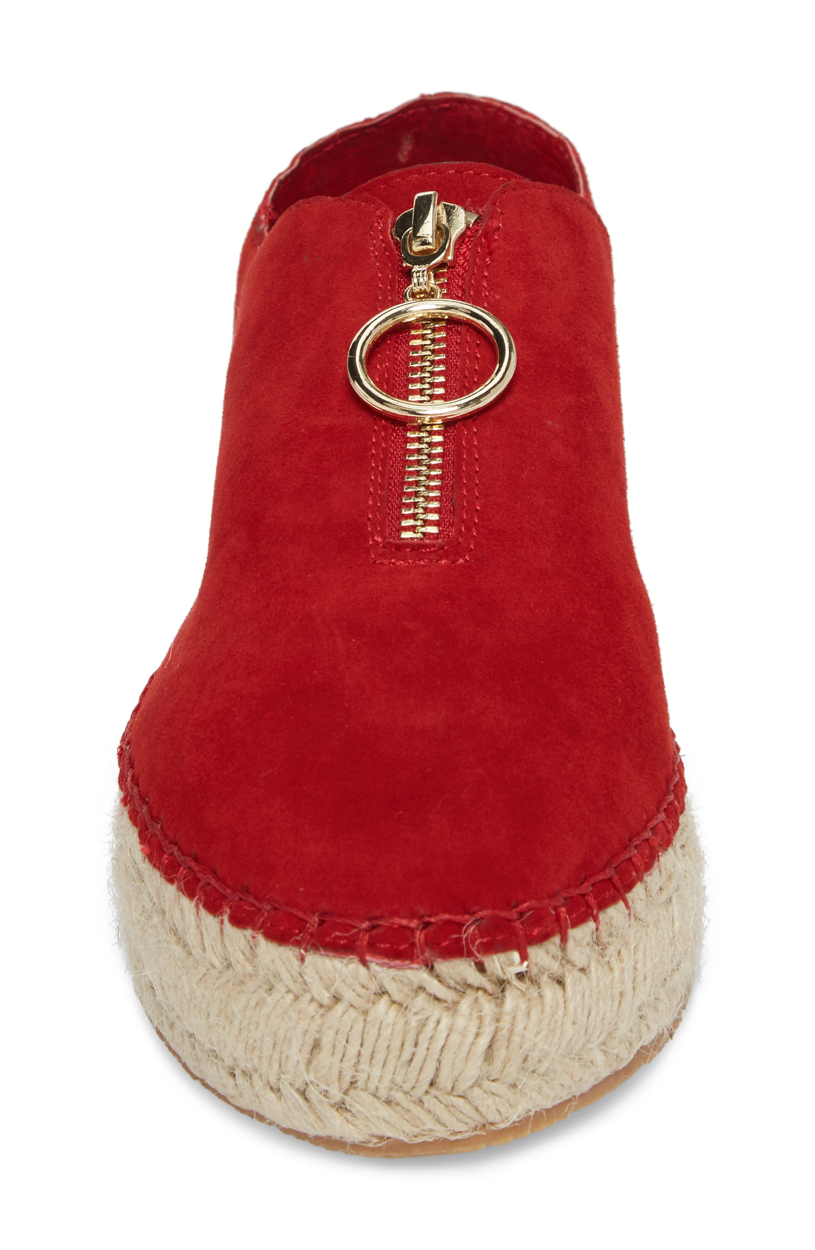 Ryan Espadrille Flat,                             Alternate thumbnail 4, color,                             Red Leather