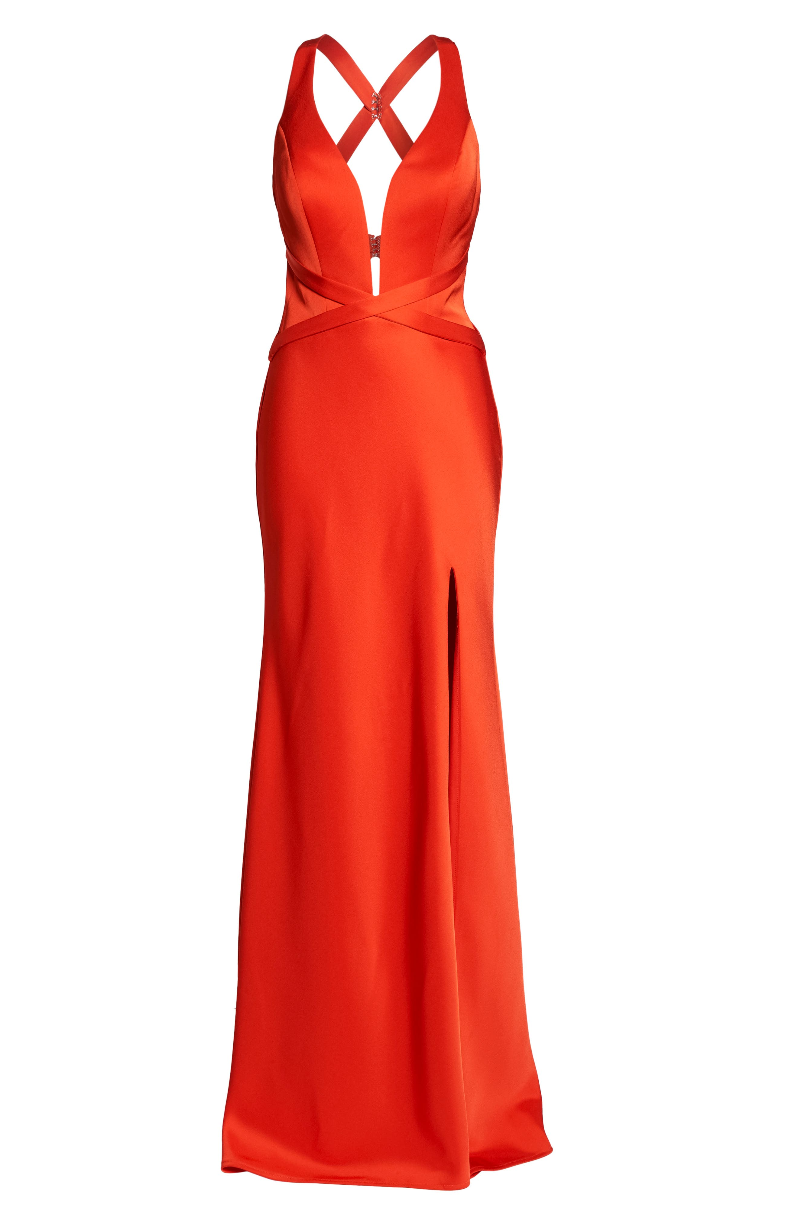 Plunge Neck Satin Gown,                             Alternate thumbnail 6, color,                             Poppy Red