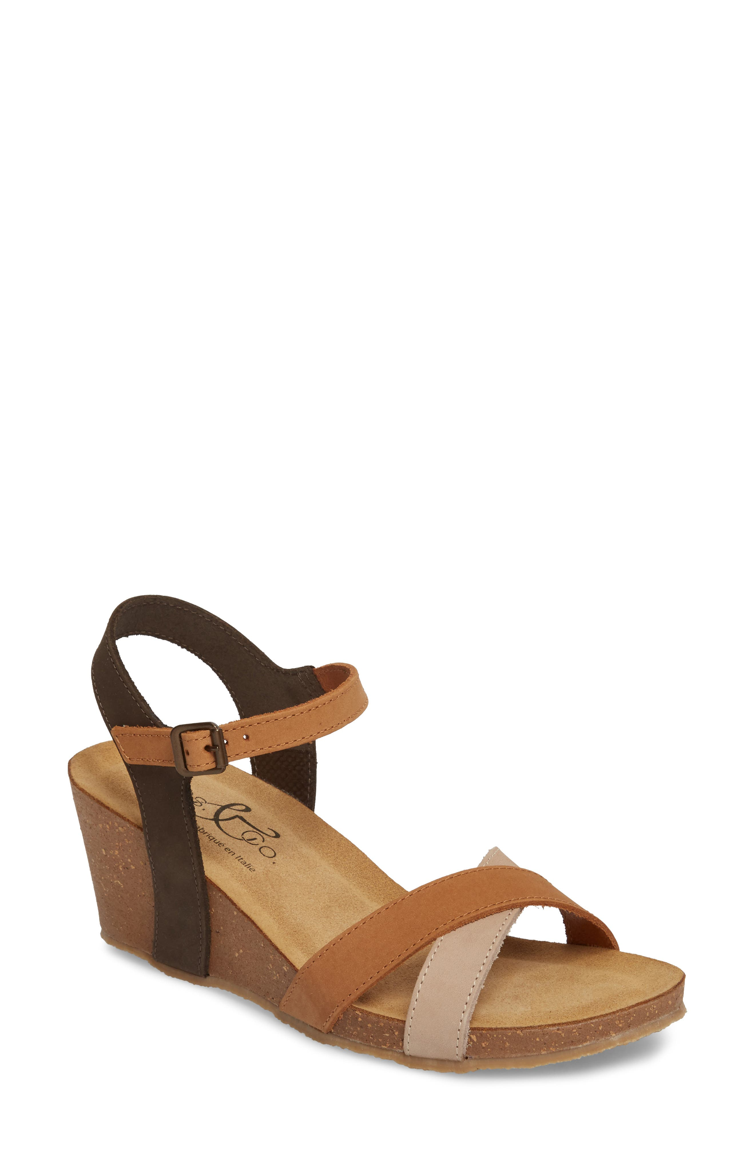 Lucca Wedge Sandal,                             Main thumbnail 1, color,                             Multi Cognac Nubuck Leather