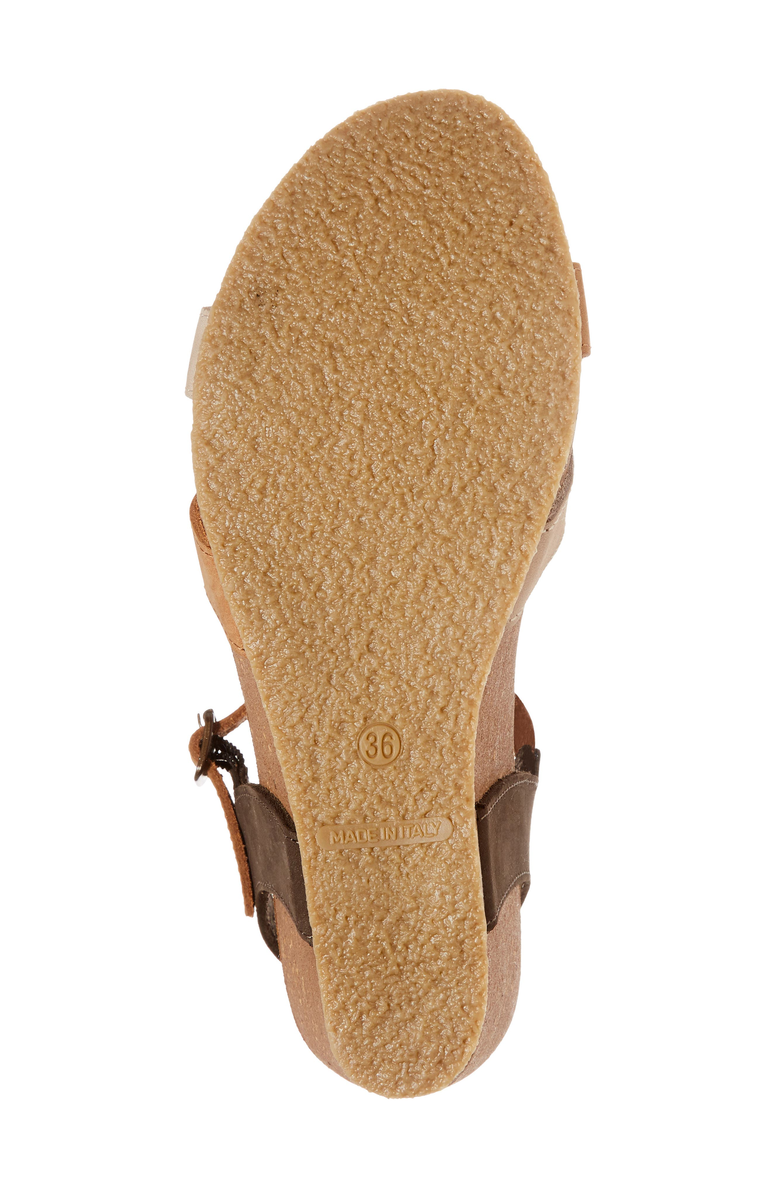 Lucca Wedge Sandal,                             Alternate thumbnail 6, color,                             Multi Cognac Nubuck Leather