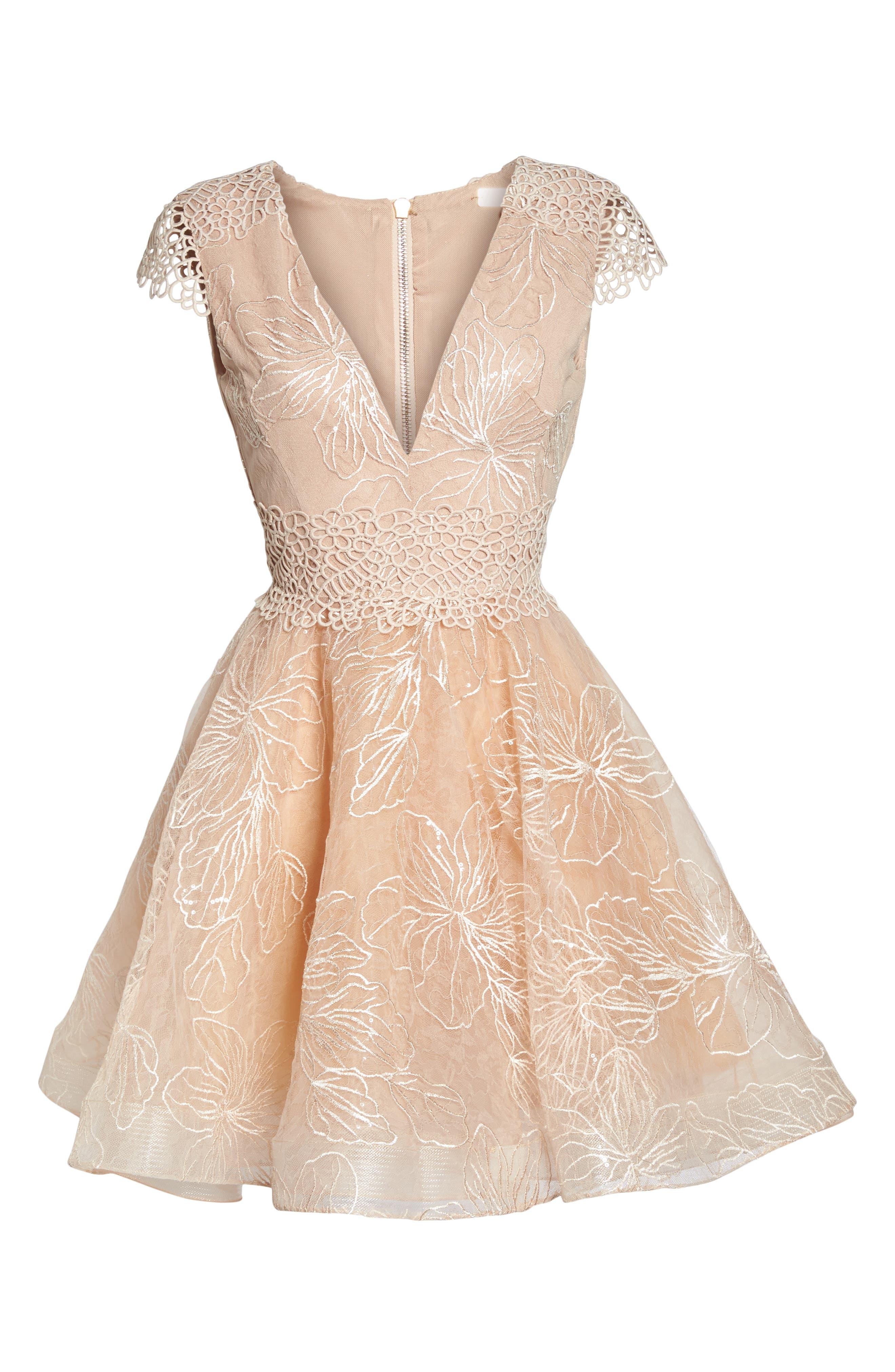 Fiore Sequin Fit & Flare Dress,                             Alternate thumbnail 6, color,                             Beige