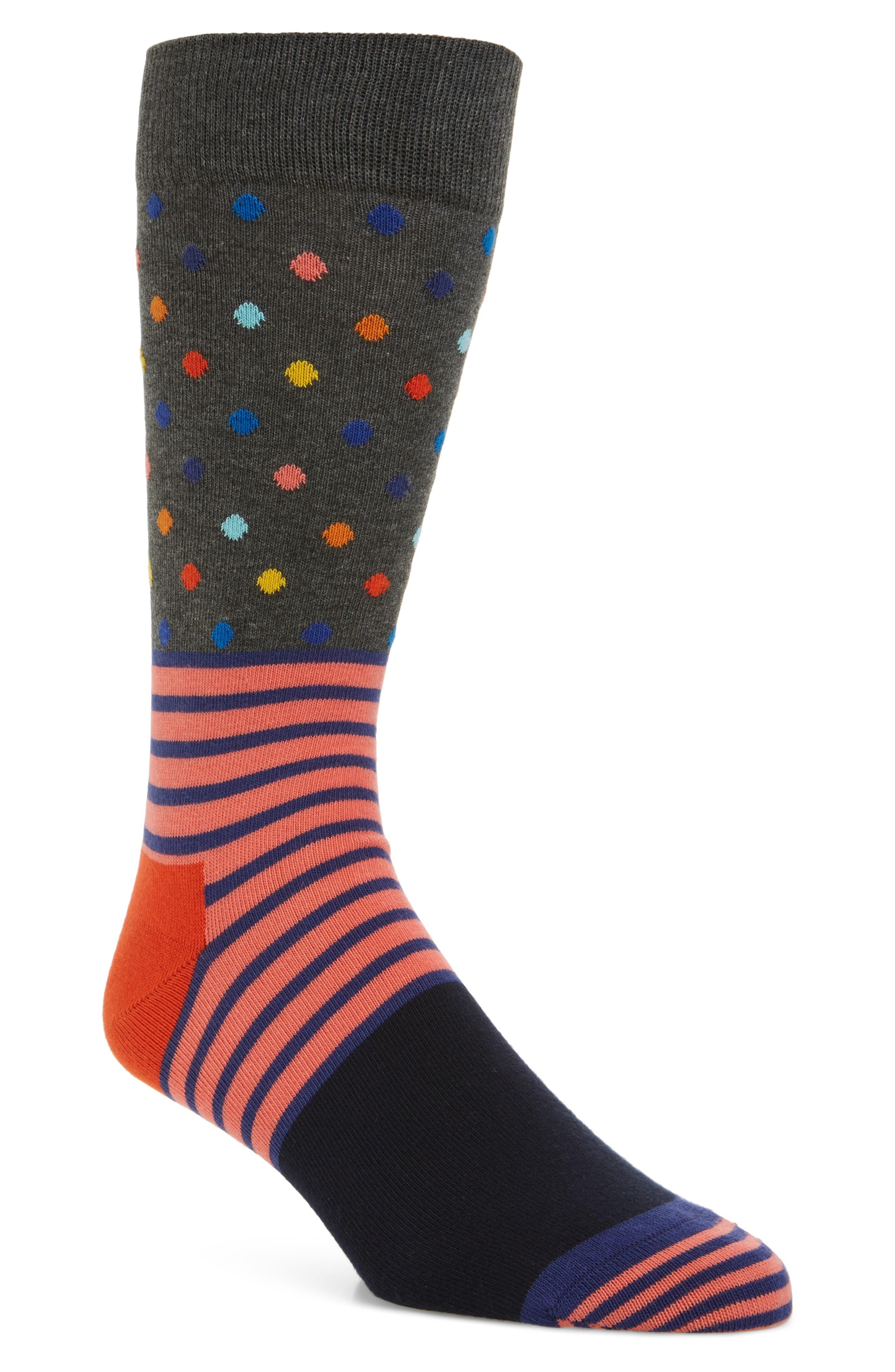 Stripe & Dot Pattern Socks,                         Main,                         color, Grey Multi