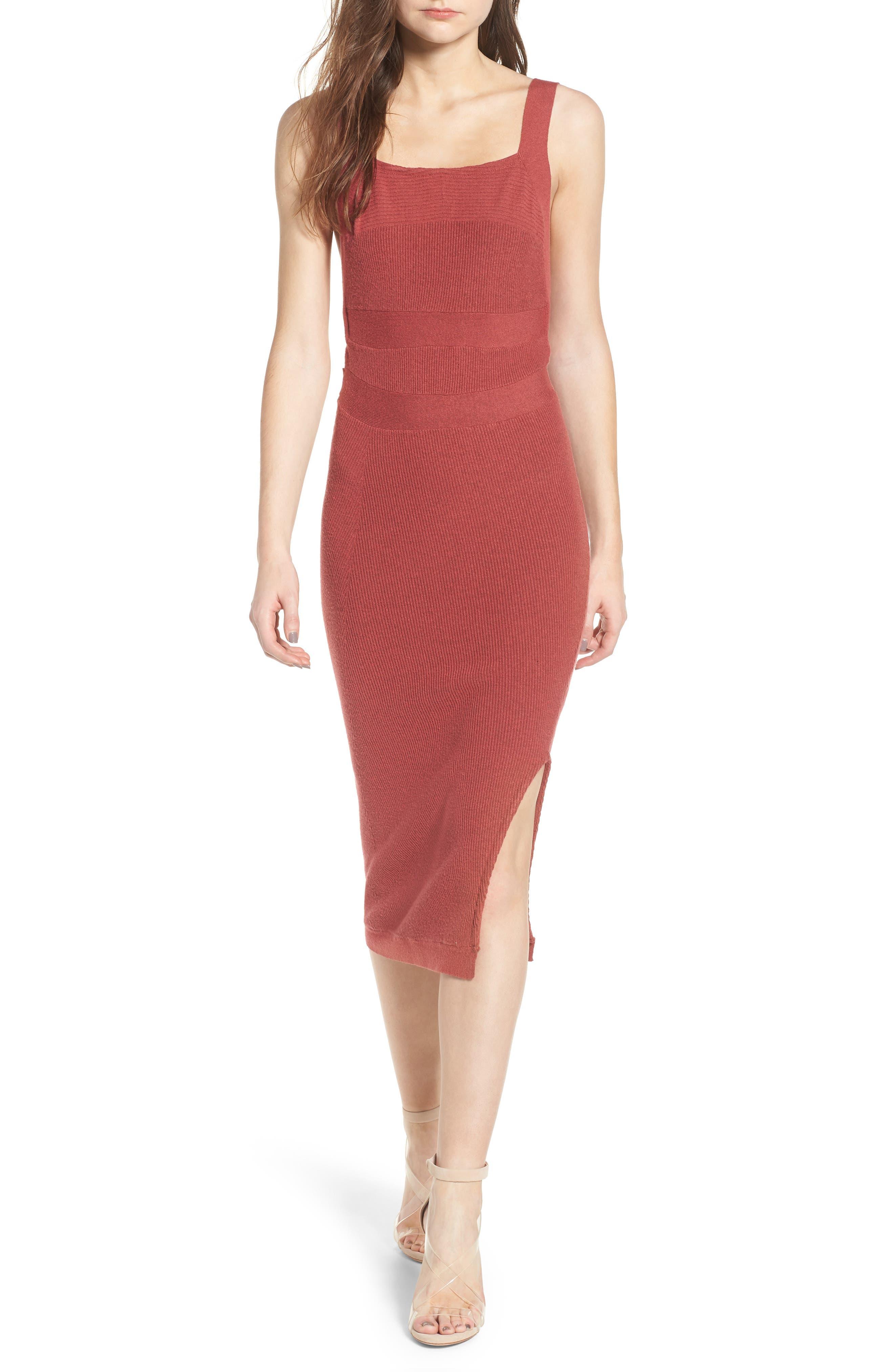 Midi Body-Con Dress,                             Main thumbnail 1, color,                             Red Baroque
