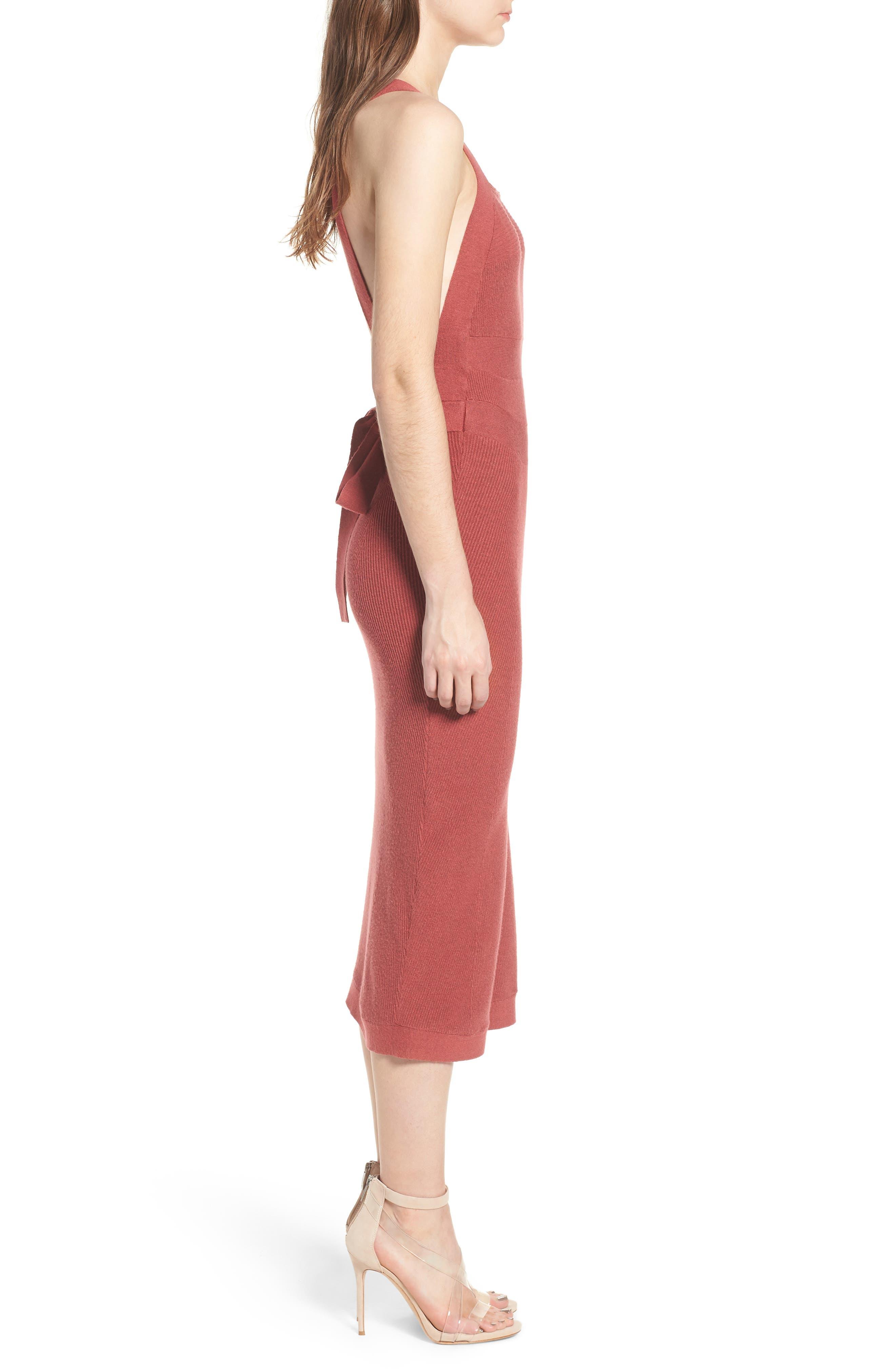 Midi Body-Con Dress,                             Alternate thumbnail 3, color,                             Red Baroque