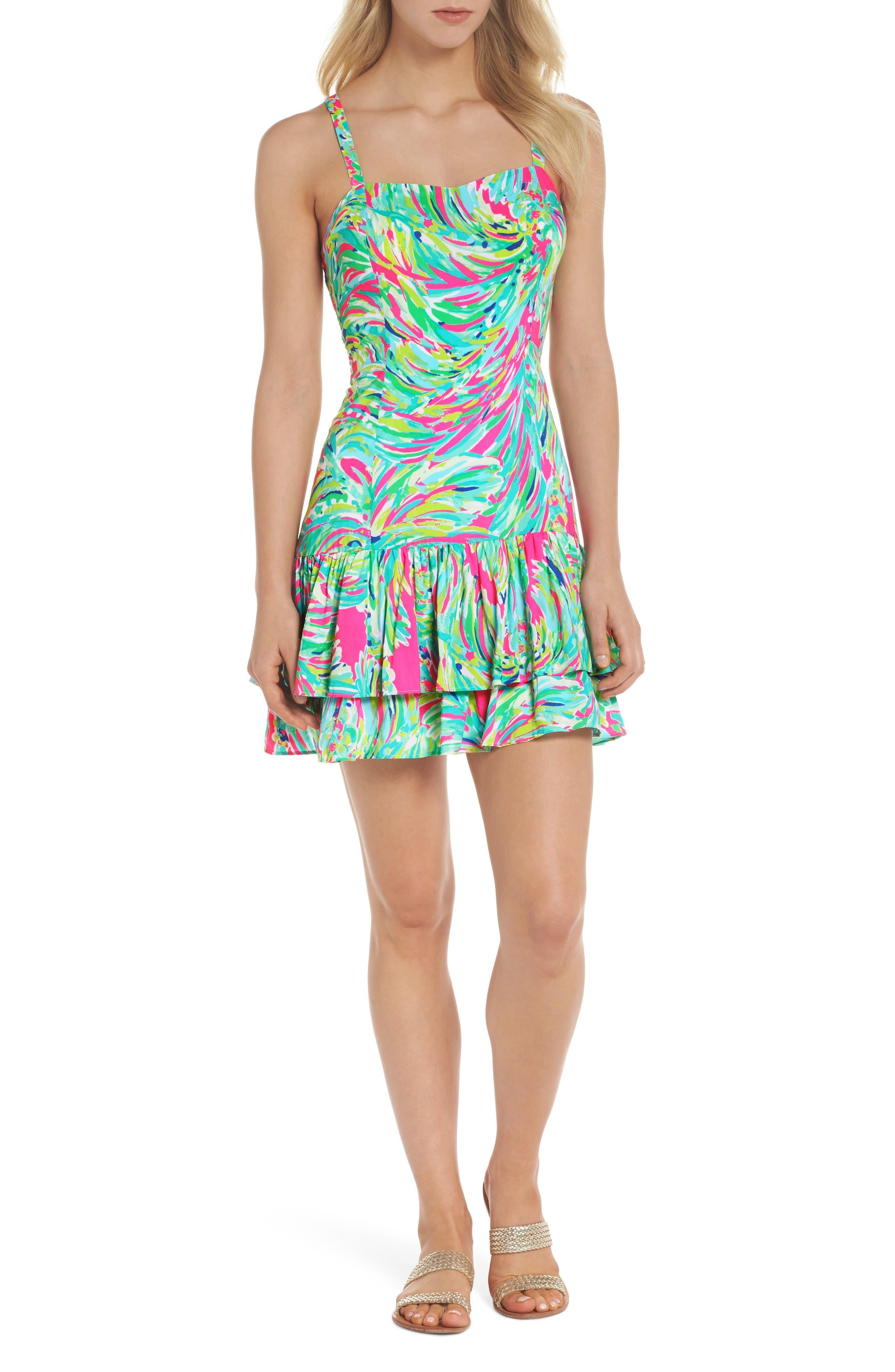 Morgana Ruffle Hem Sundress,                         Main,                         color, Raz Berry Shady Lady