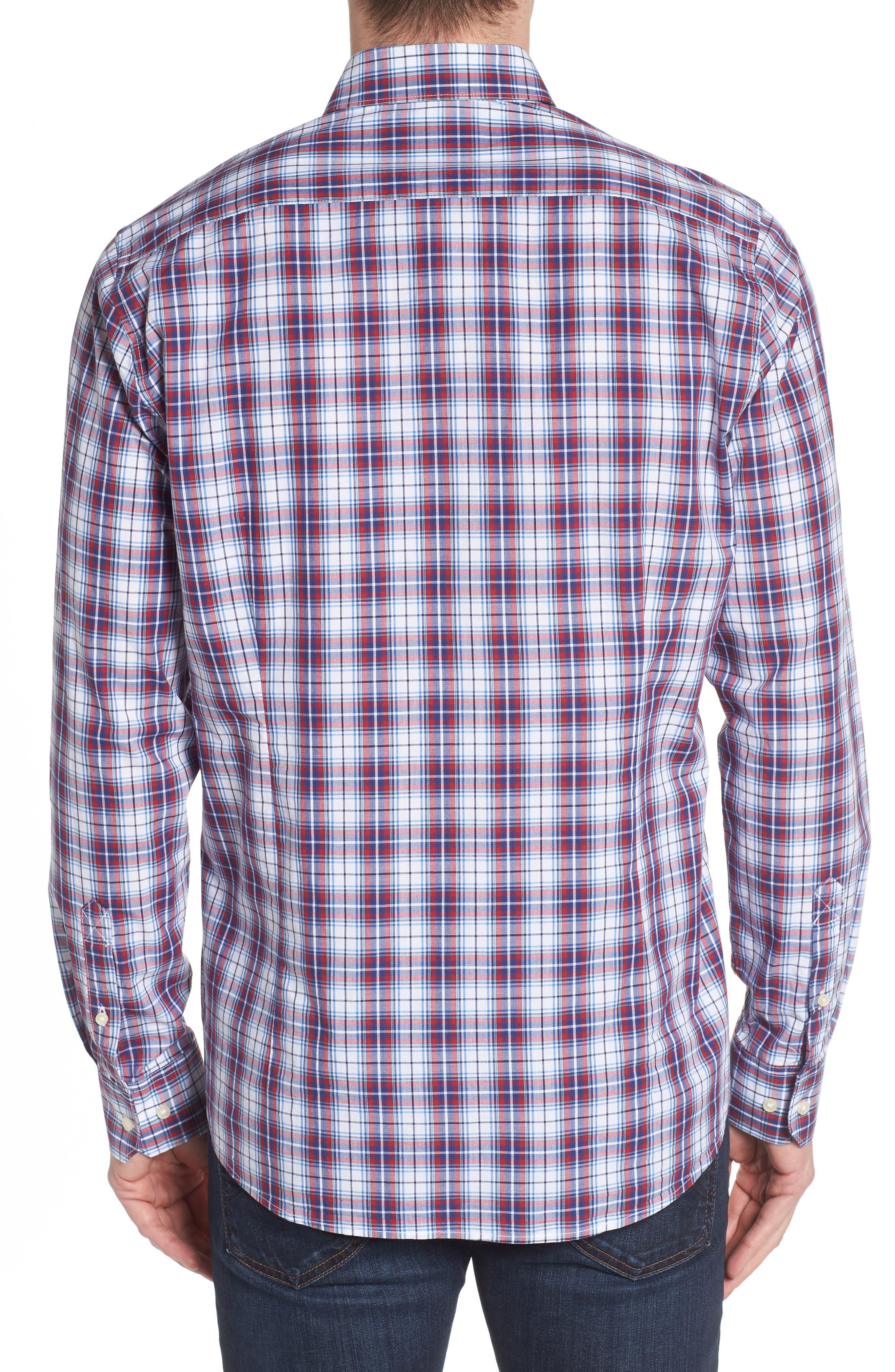 Leo Trim Fit Plaid Sport Shirt,                             Alternate thumbnail 2, color,                             Red