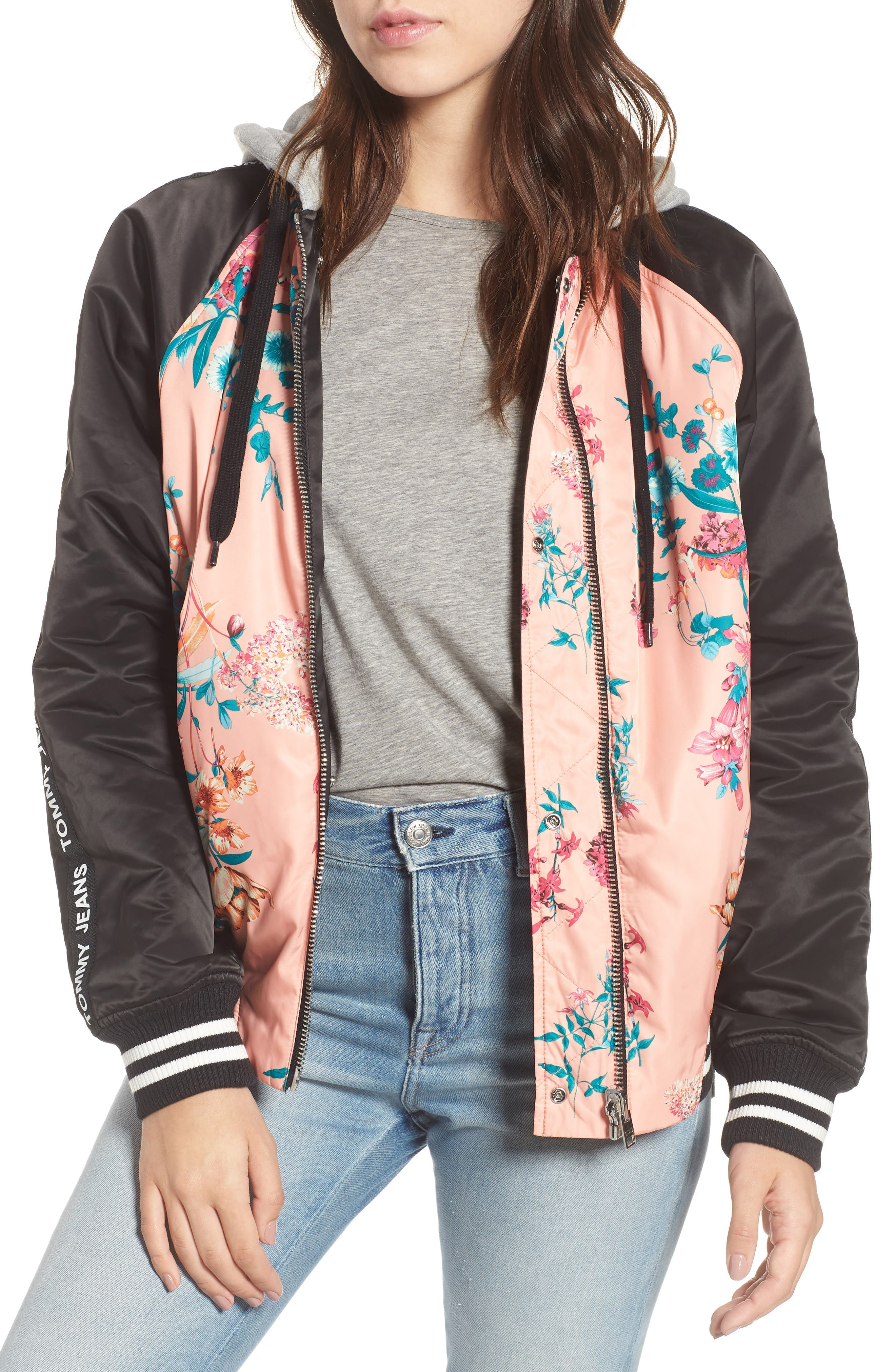 Reversible Floral Bomber Jacket,                             Main thumbnail 1, color,                             Floral Print