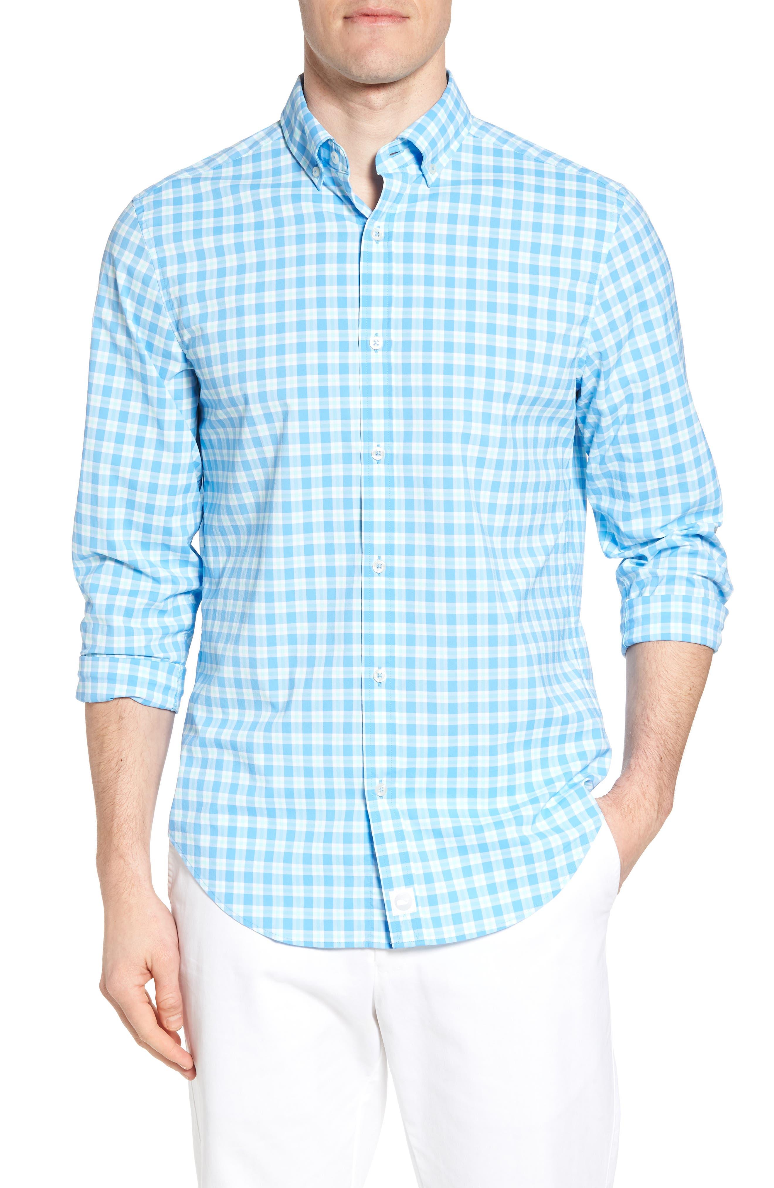Ocean Beach Classic Fit Stretch Check Sport Shirt,                         Main,                         color, Ocean Breeze