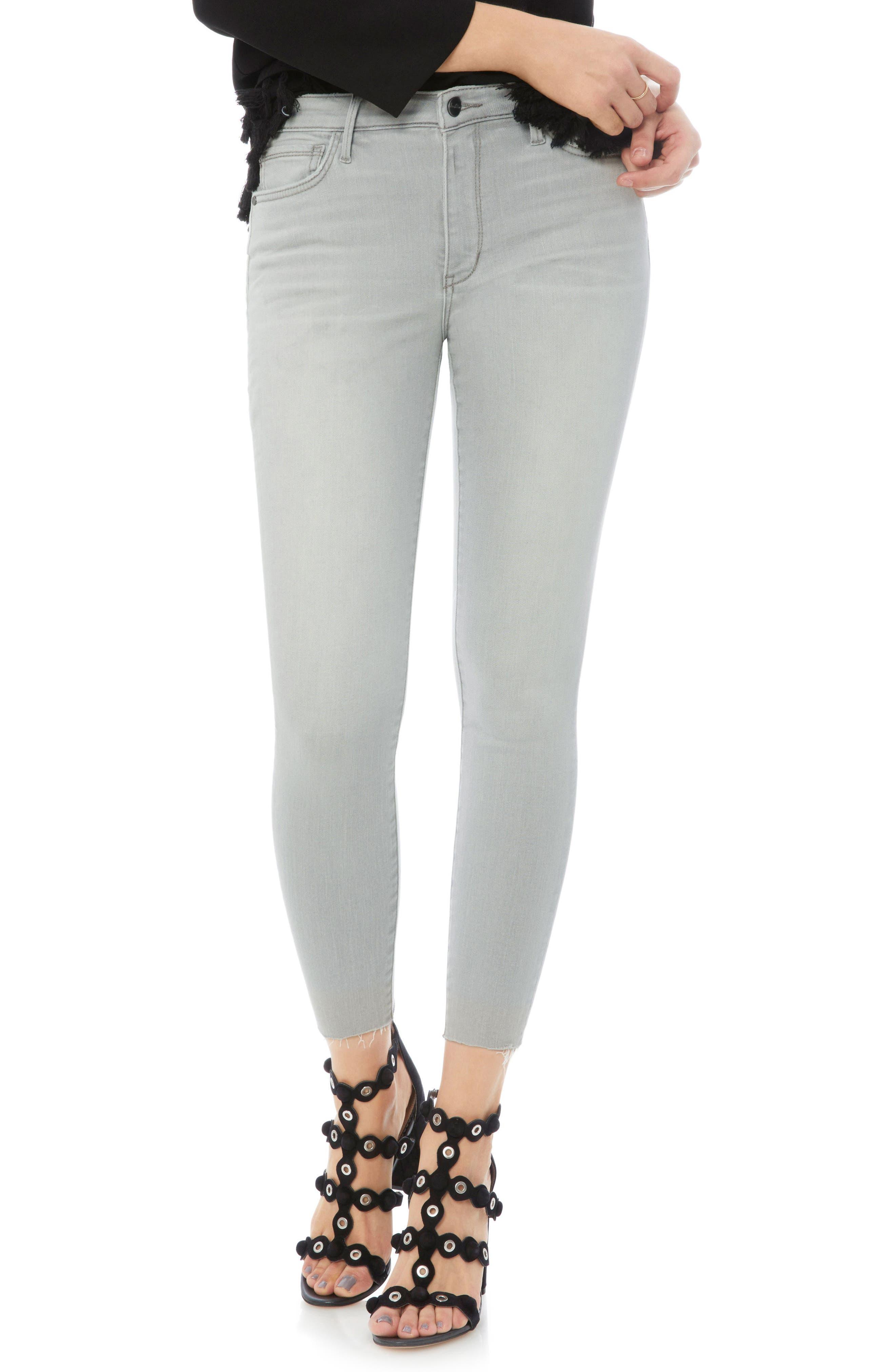 The Stiletto Raw Hem Skinny Jeans,                             Main thumbnail 1, color,                             Mazi