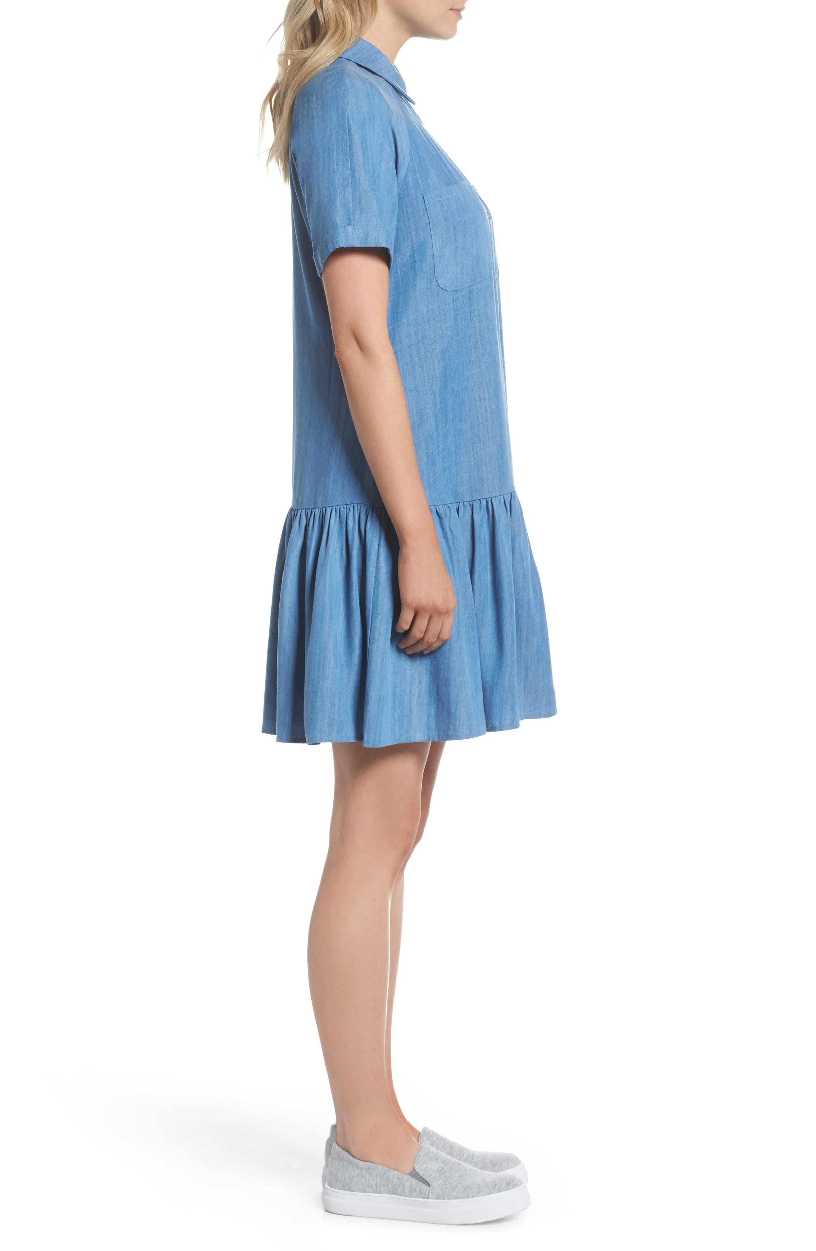 Maven Ruffle Shirtdress,                             Alternate thumbnail 3, color,                             Washed Indigo