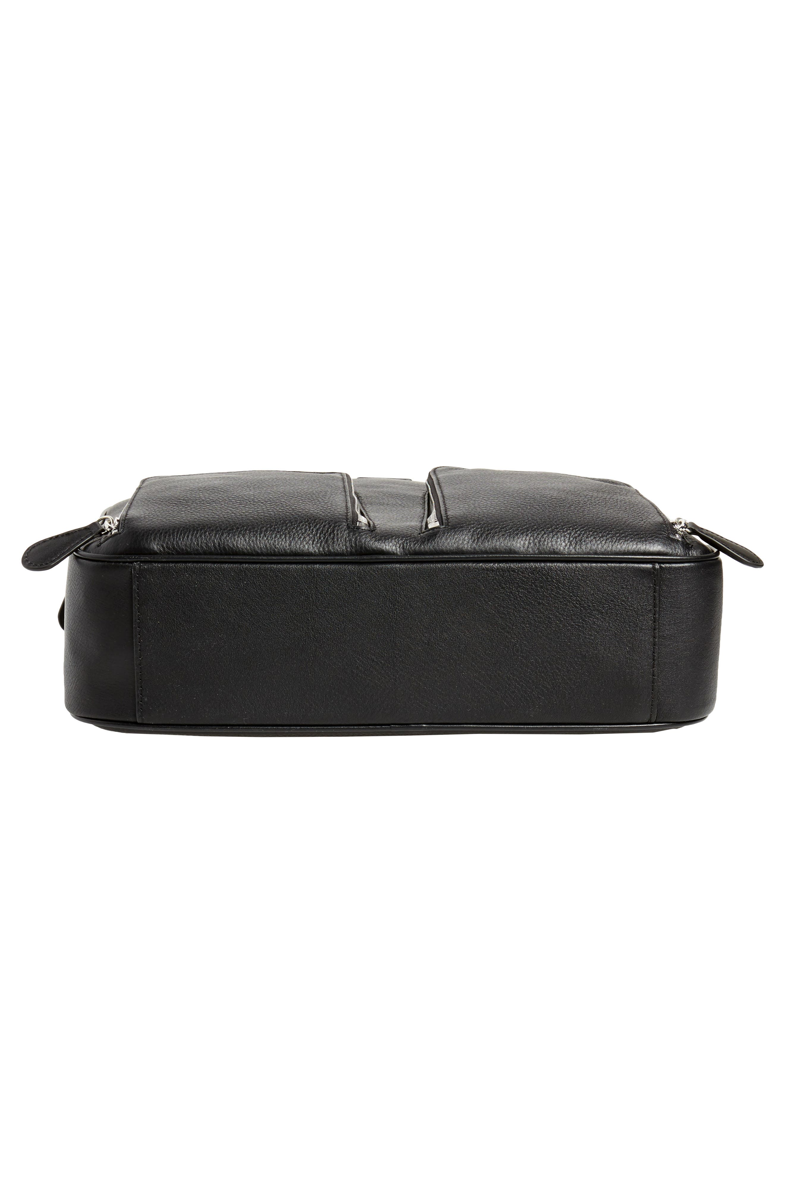 Toother Leather Briefcase,                             Alternate thumbnail 6, color,                             Black