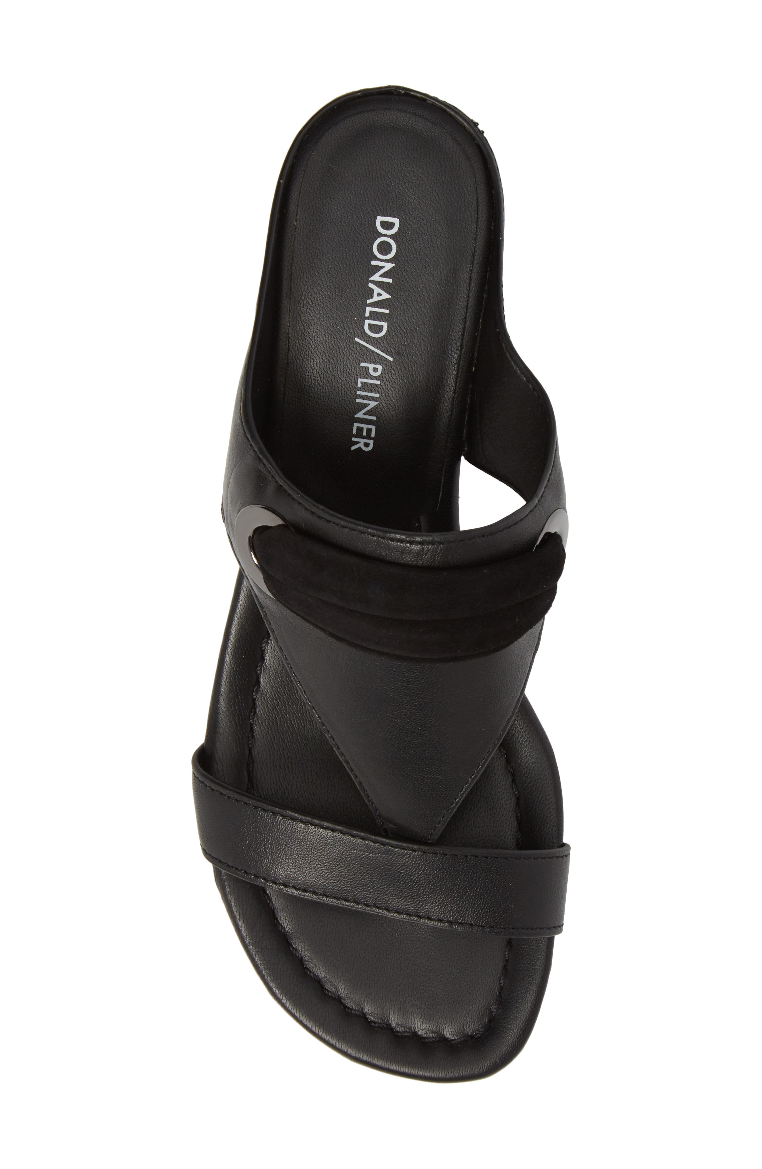Dionne Wedge Sandal,                             Alternate thumbnail 5, color,                             Black Leather