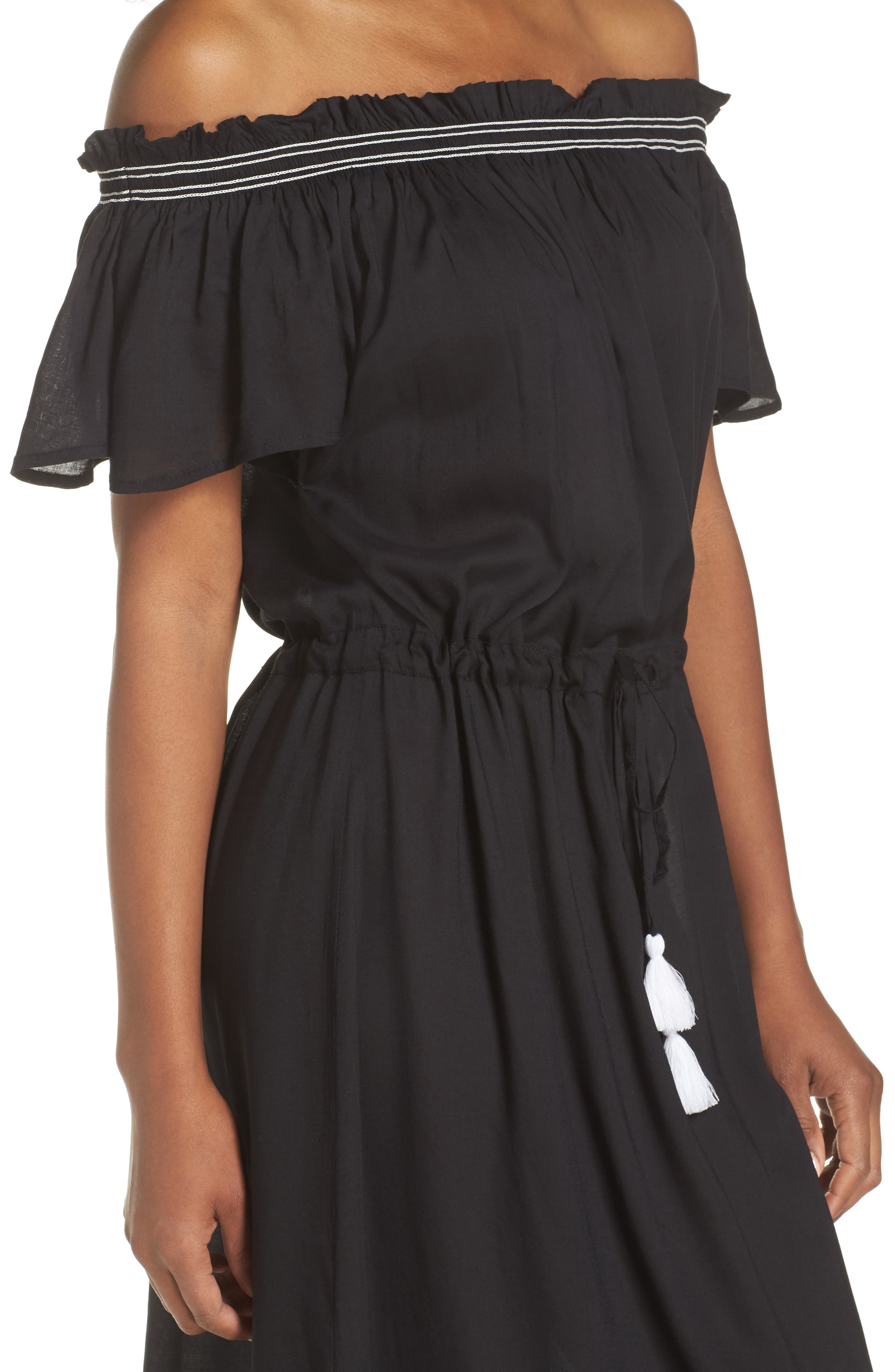 Off the Shoulder Cover-Up Dress,                             Alternate thumbnail 4, color,                             Black