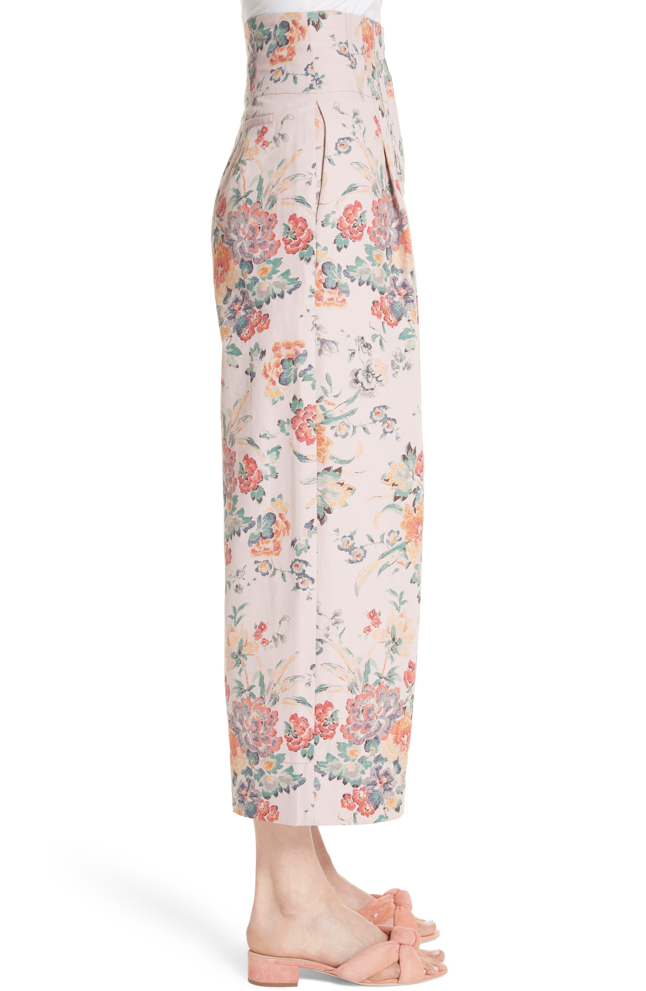 Marlena Floral Crop Pants,                             Alternate thumbnail 3, color,                             Dusty Rose Combo