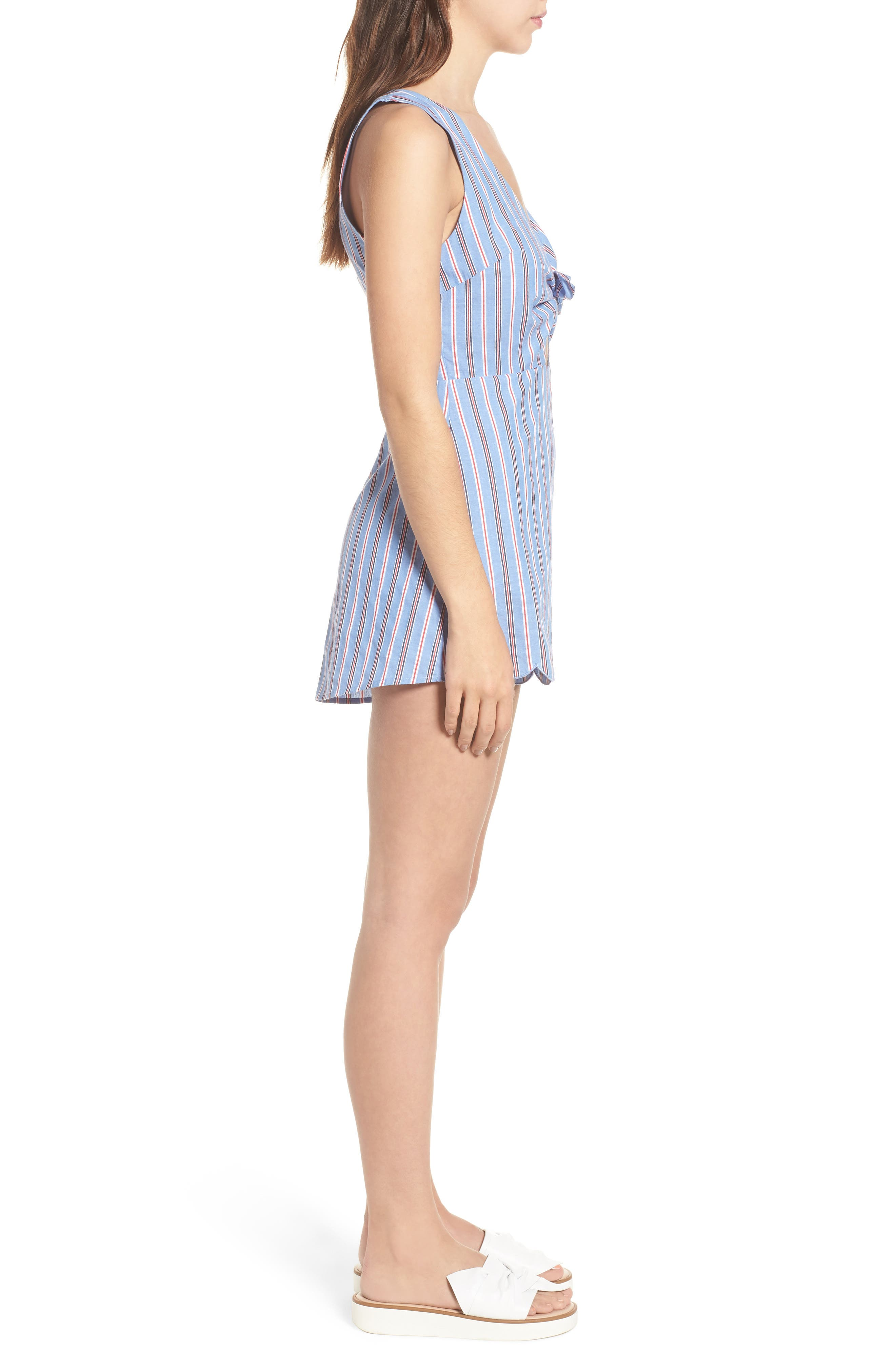 Knot Front Romper,                             Alternate thumbnail 3, color,                             Red/ Blue Stripe
