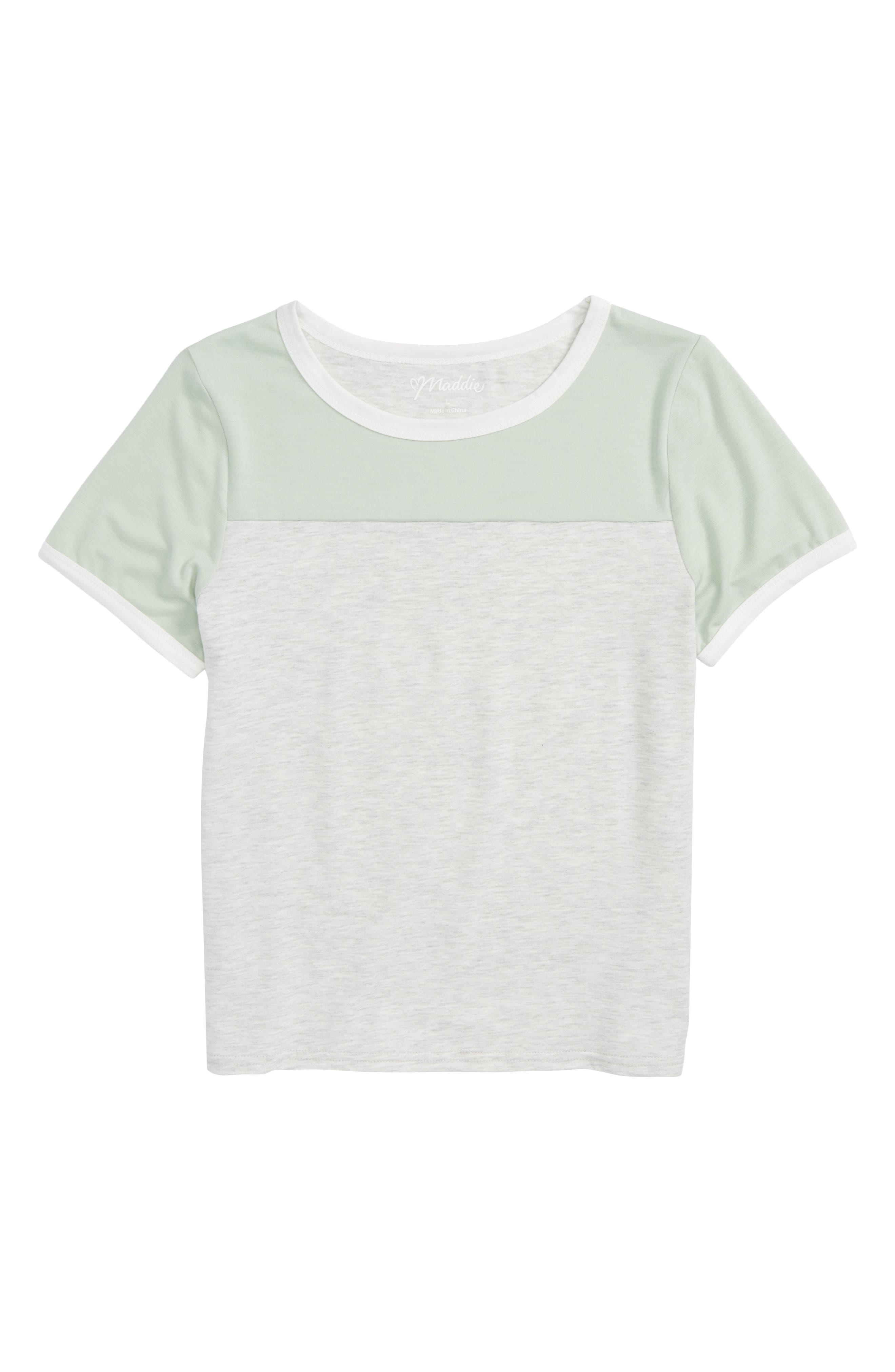 Colorblock Tee,                         Main,                         color, White/ Mint