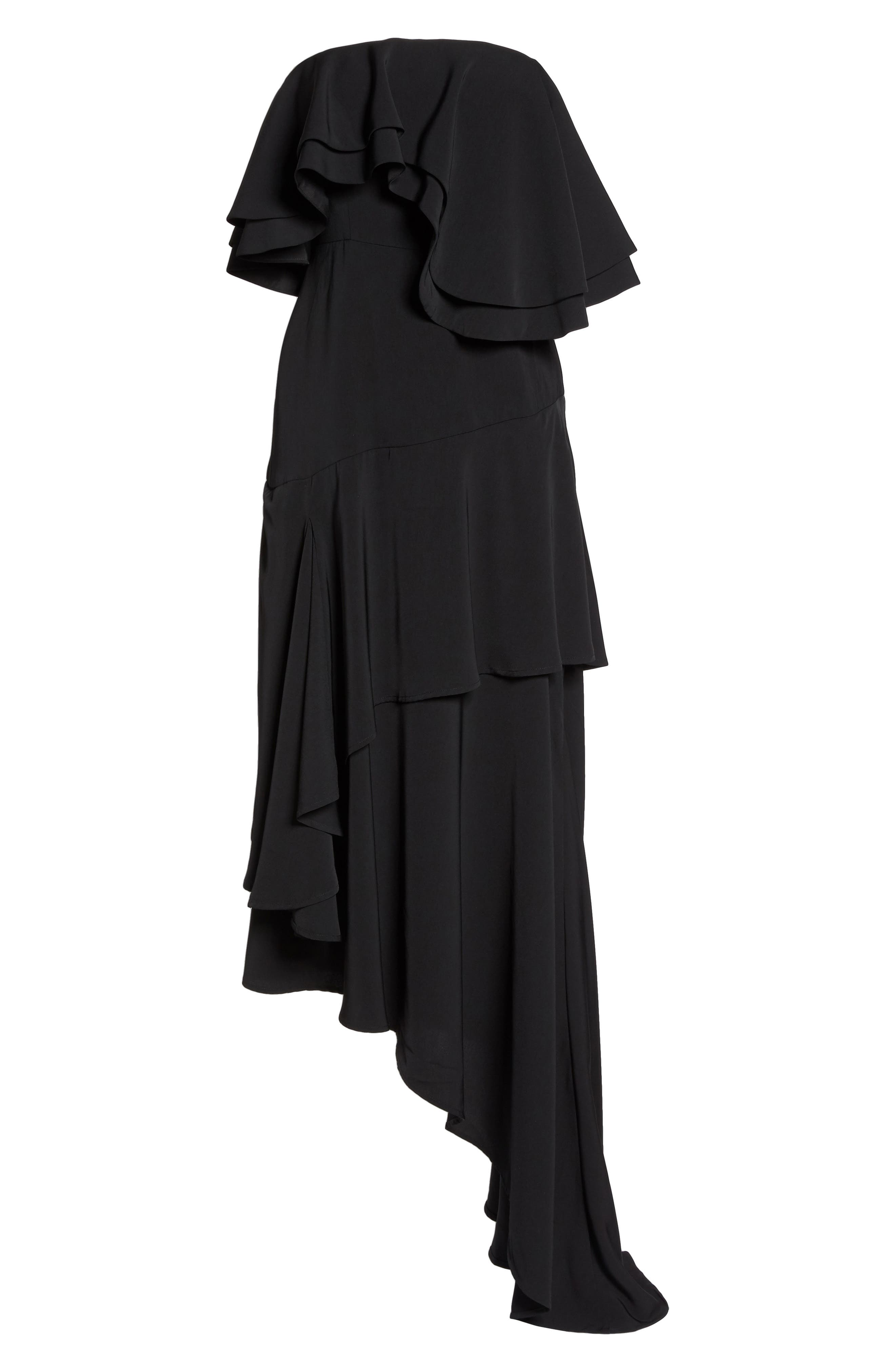 With You Strapless Asymmetric Gown,                             Alternate thumbnail 7, color,                             Black