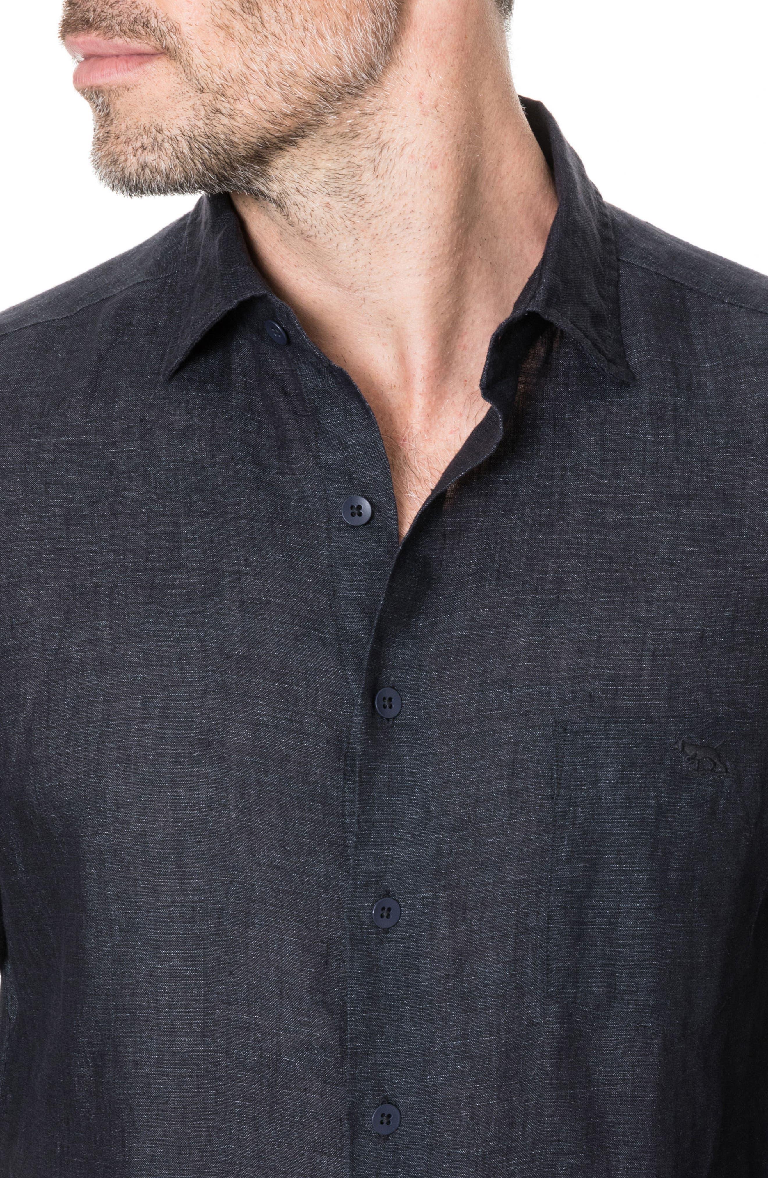 Landsdown Regular Fit Linen Sport Shirt,                             Alternate thumbnail 2, color,                             Charcoal