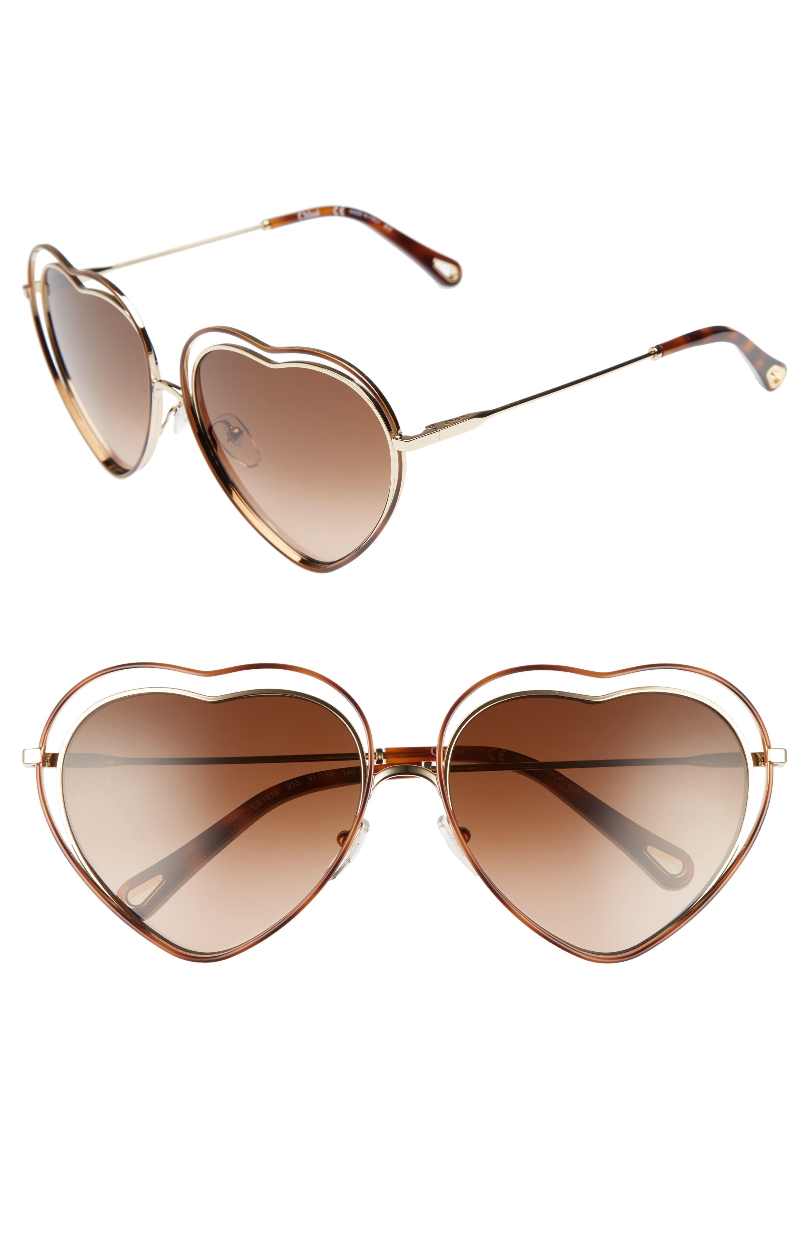 Poppy Love Heart Sunglasses,                             Main thumbnail 1, color,                             Havana Brown