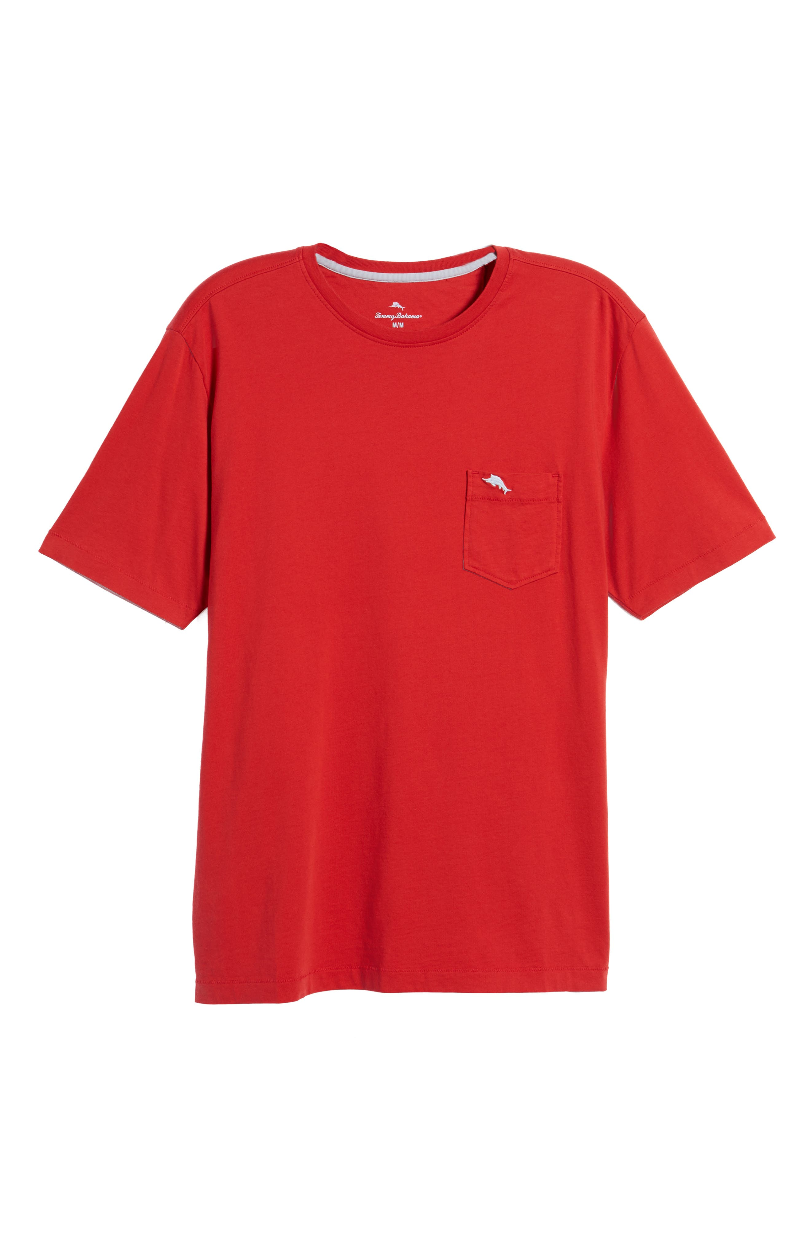 'New Bali Sky' Original Fit Crewneck Pocket T-Shirt,                             Alternate thumbnail 4, color,                             Regal Red