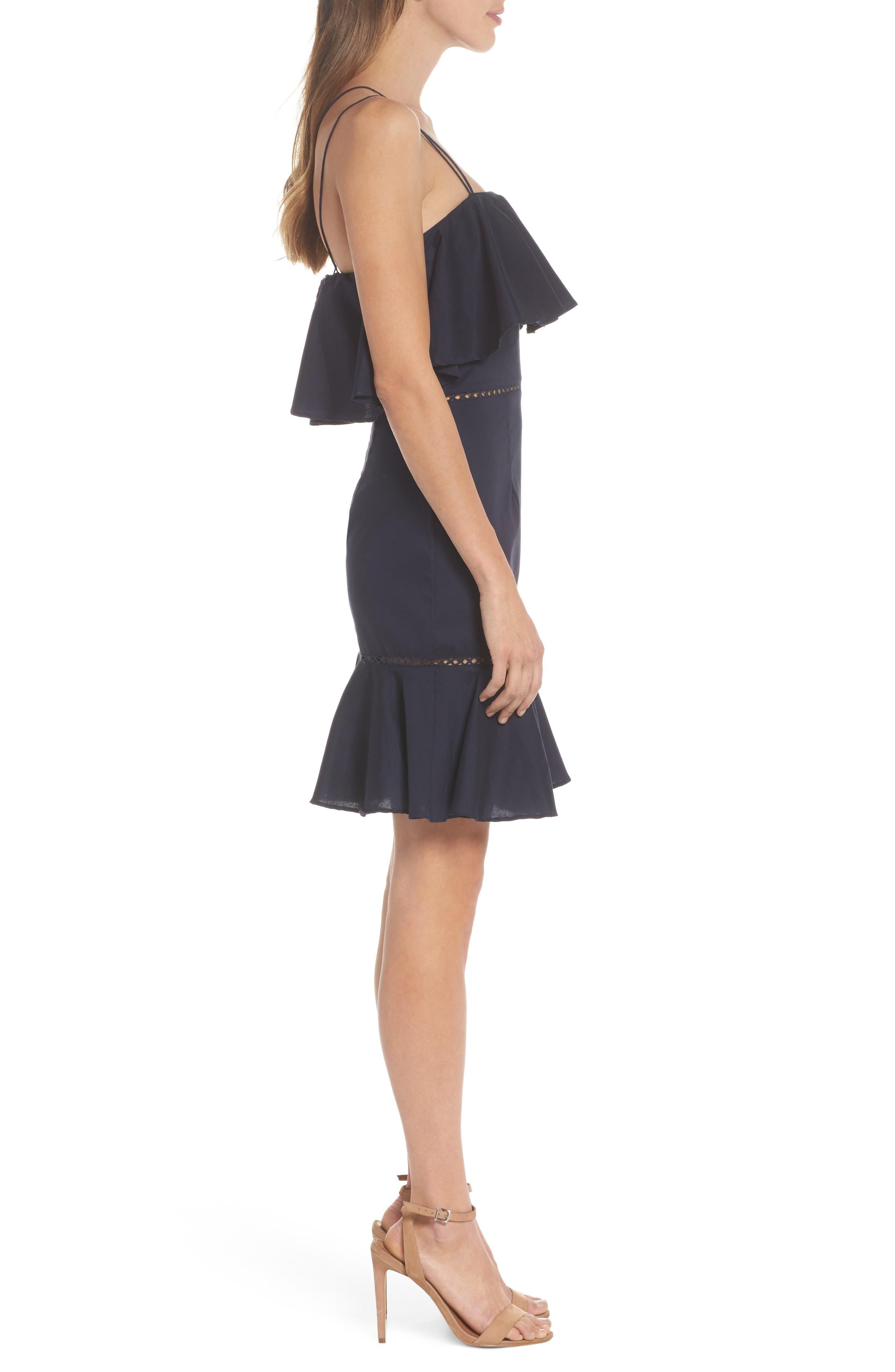Lola Poplin Ruffle Dress,                             Alternate thumbnail 3, color,                             Navy