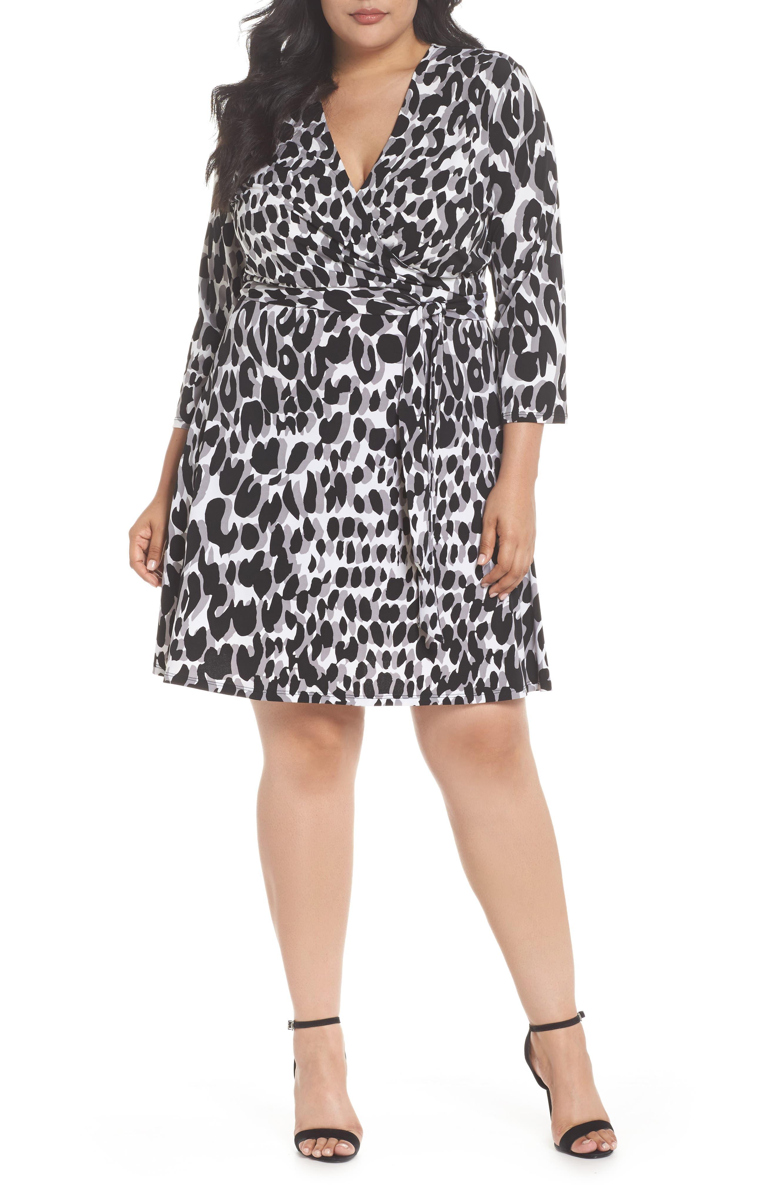 Wrap Dress,                         Main,                         color, Painted Leopard Grey