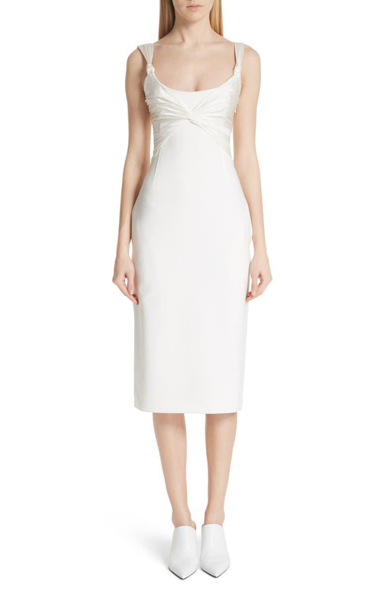 Amina Satin Twist Sheath Dress