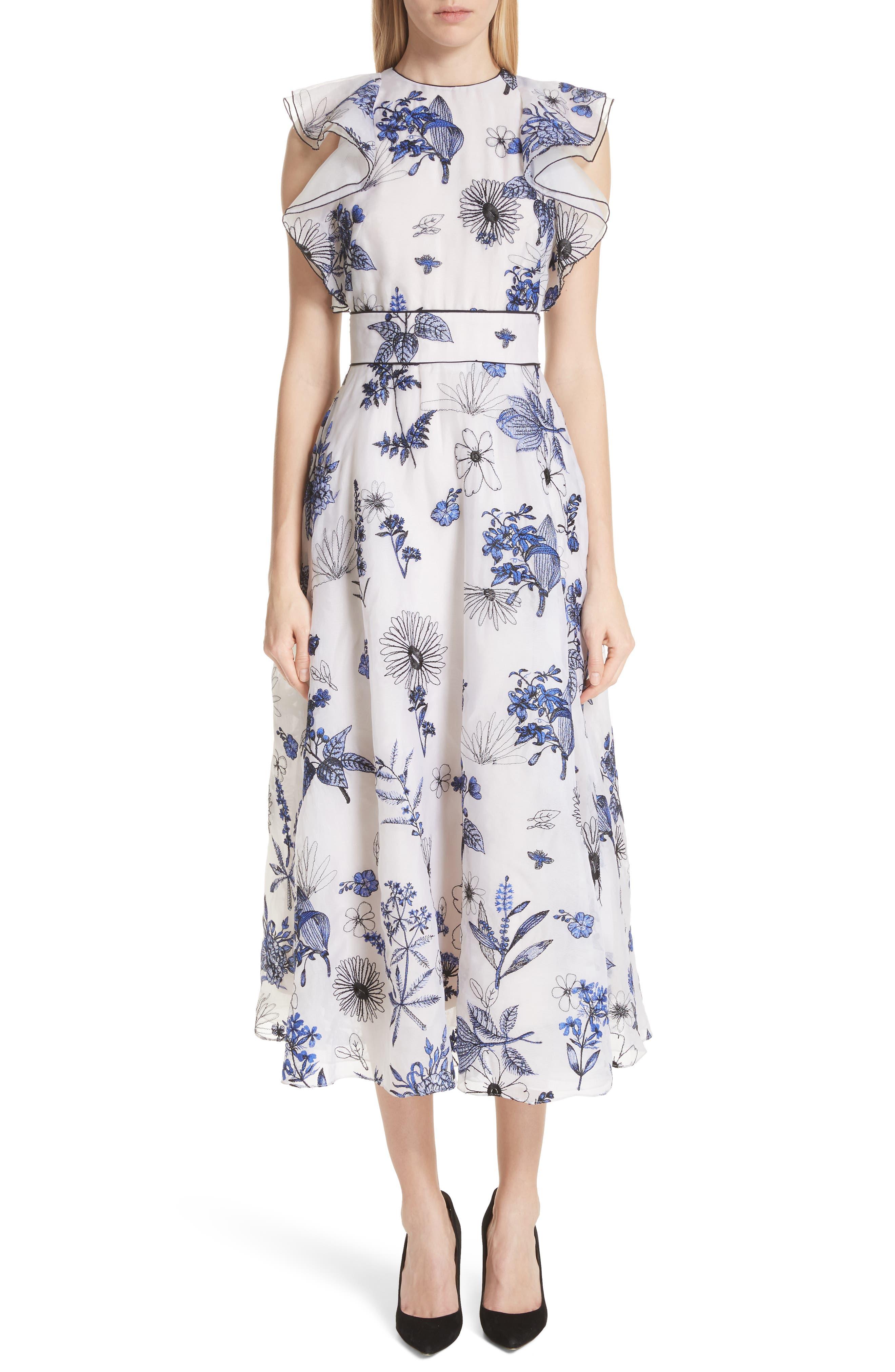 Lela Rose Embroidered Silk Ruffle Midi Dress