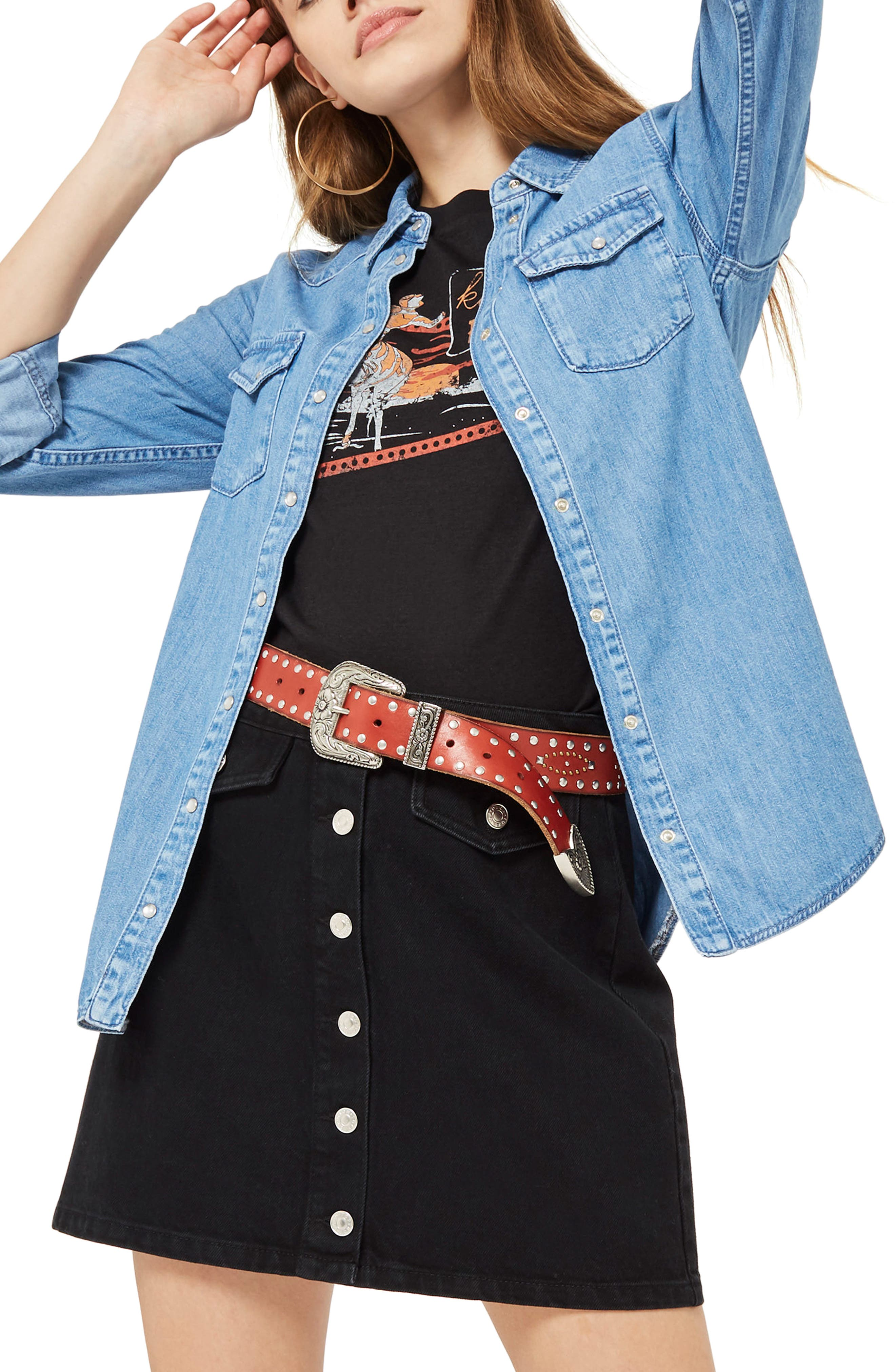 Gigi Fitted Denim Western Shirt,                         Main,                         color, Light Denim