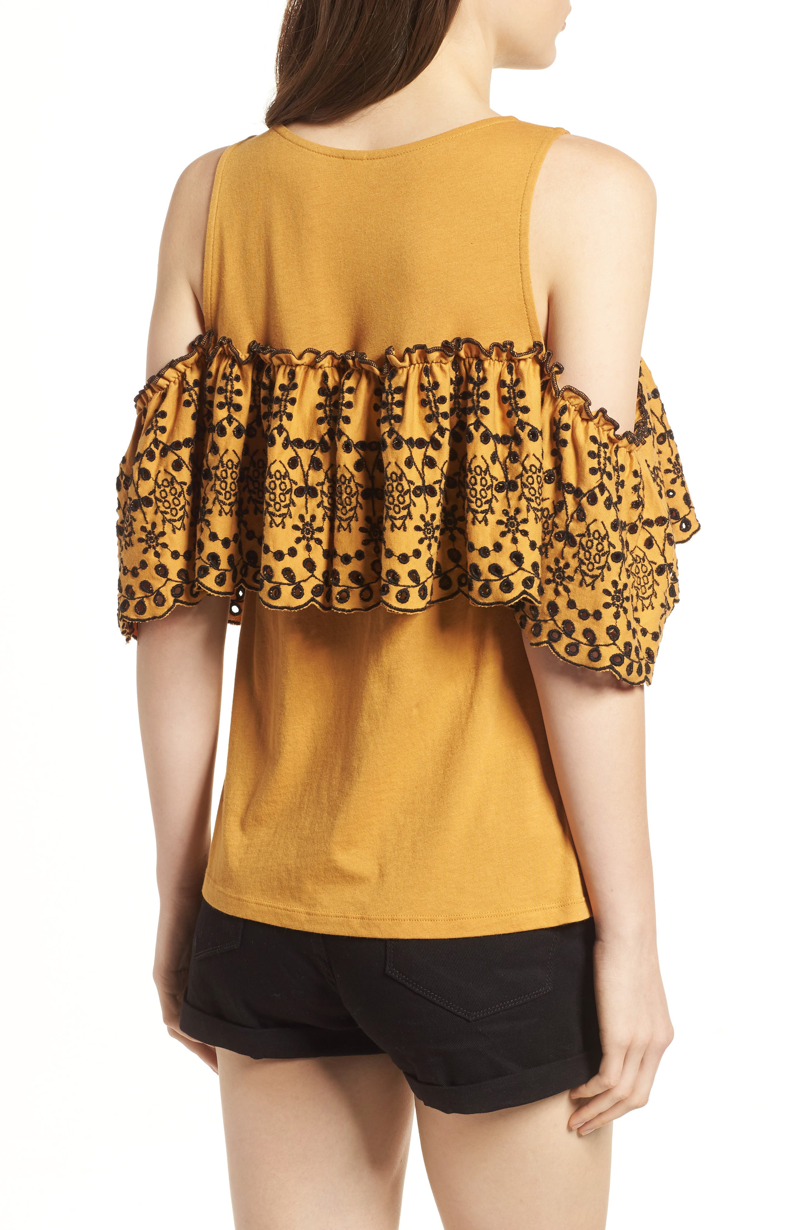 Eyelet Ruffle Cold Shoulder Top,                             Alternate thumbnail 2, color,                             Yellow Spruce