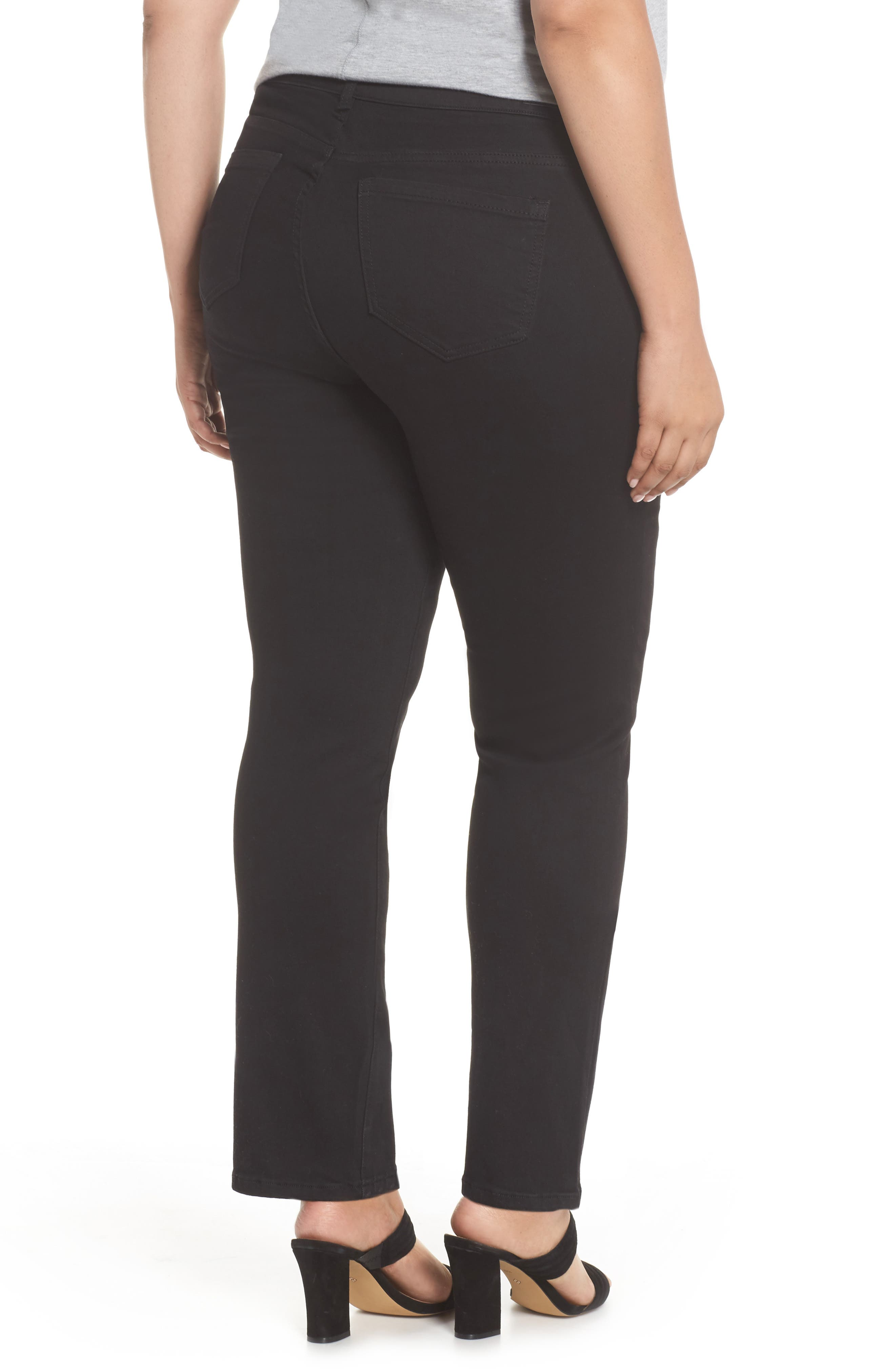 Sadie Stretch Straight Jeans,                             Alternate thumbnail 2, color,                             Black Rinse