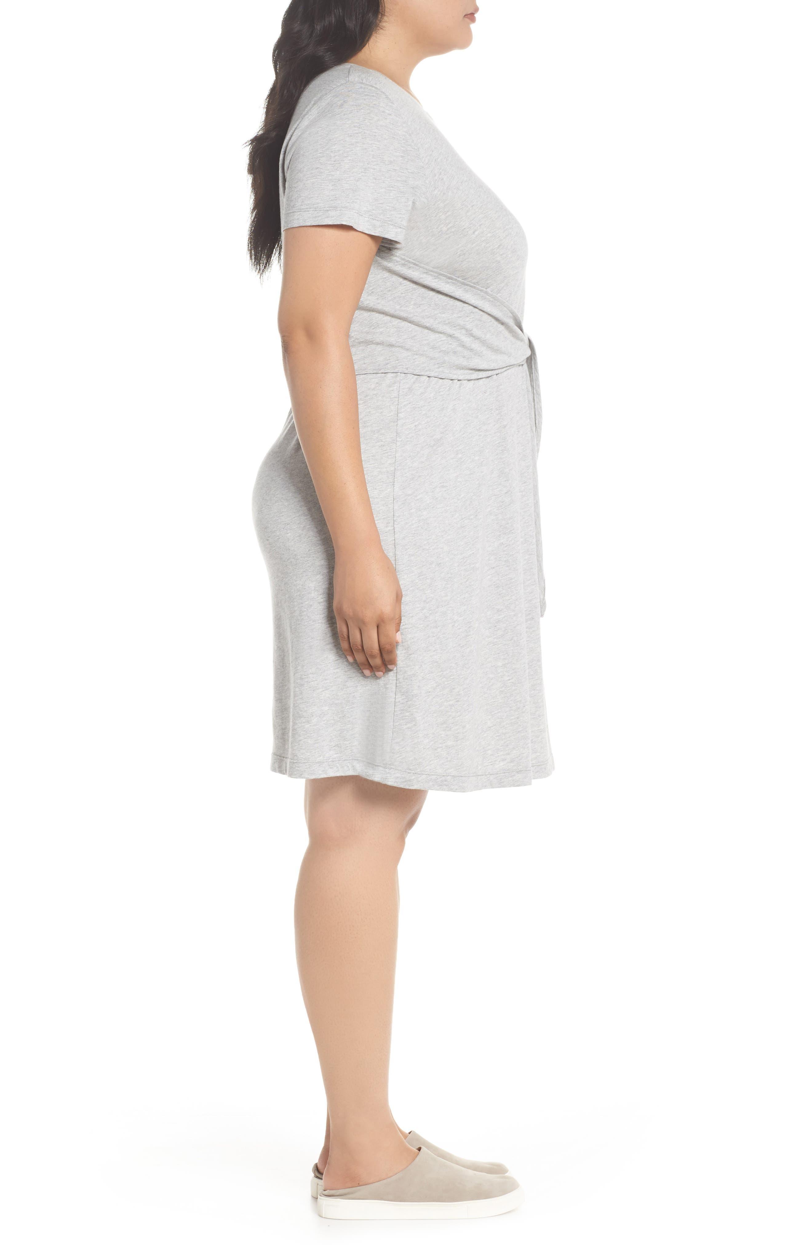 Juno Tie Waist T-Shirt Dress,                             Alternate thumbnail 3, color,                             Heather Grey