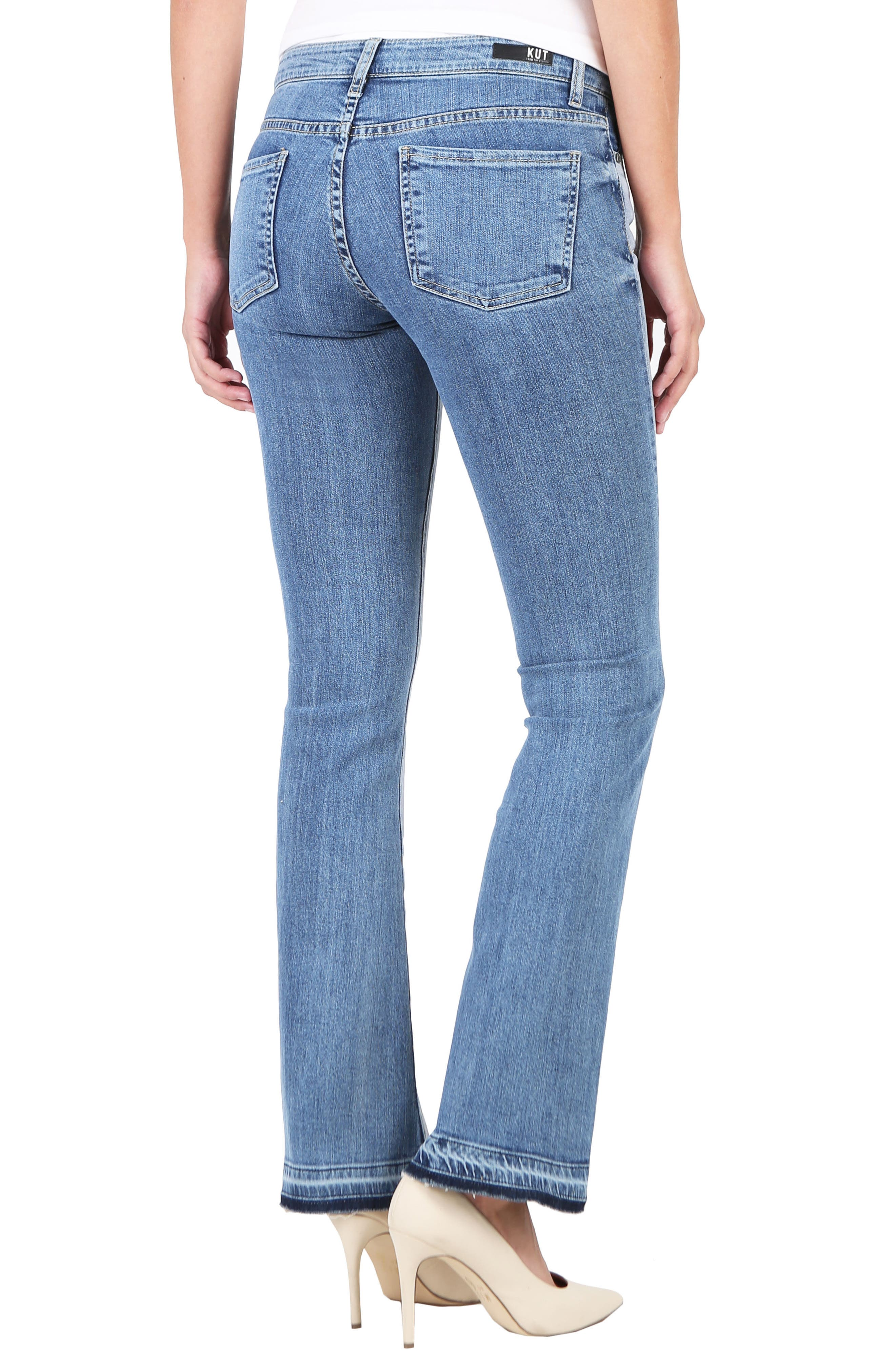 Baby Bootcut Contrast Release Hem Jeans,                             Alternate thumbnail 2, color,                             Coached