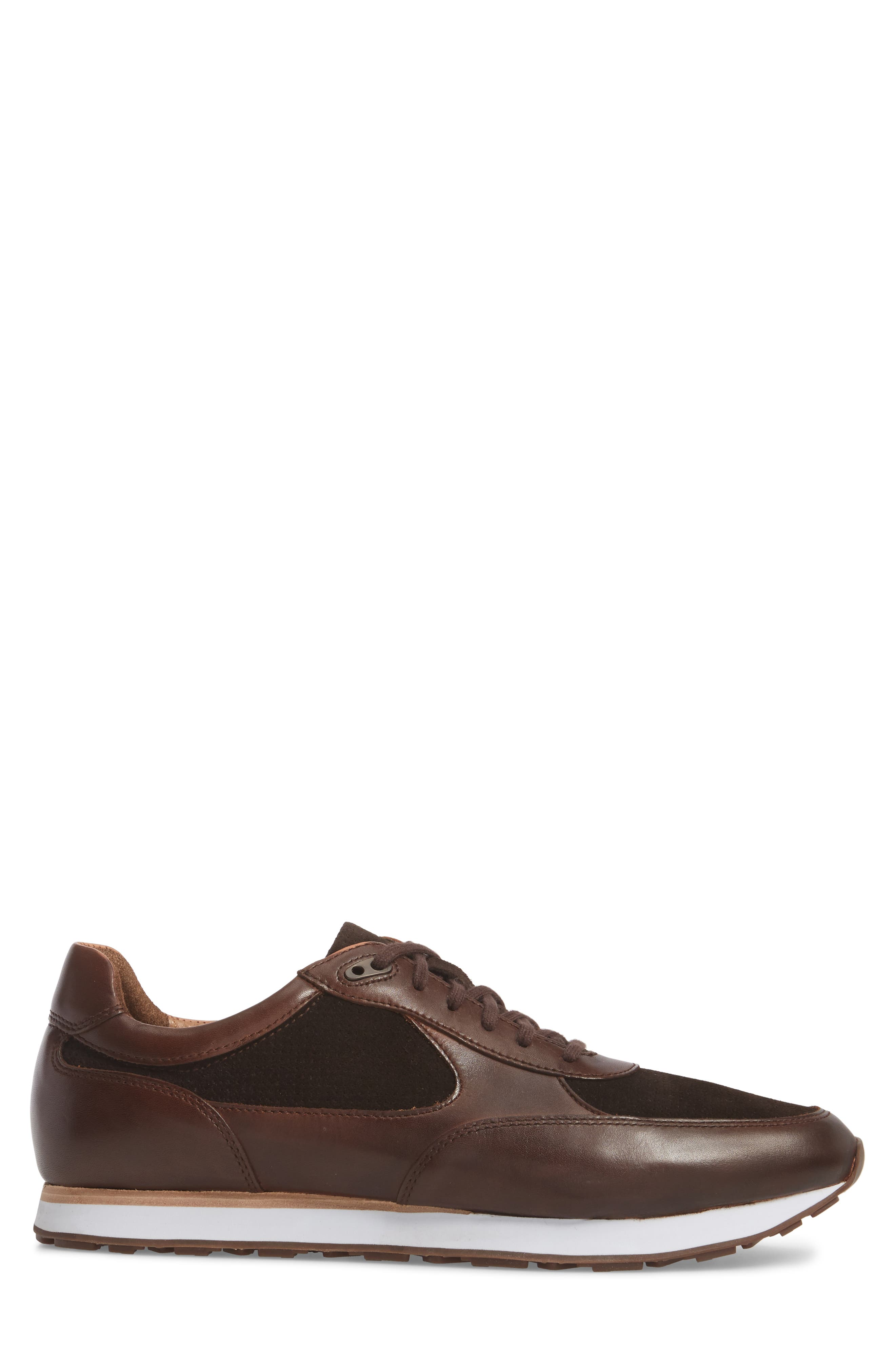 Malek Low Top Sneaker,                             Alternate thumbnail 3, color,                             Mahogany Leather/ Suede