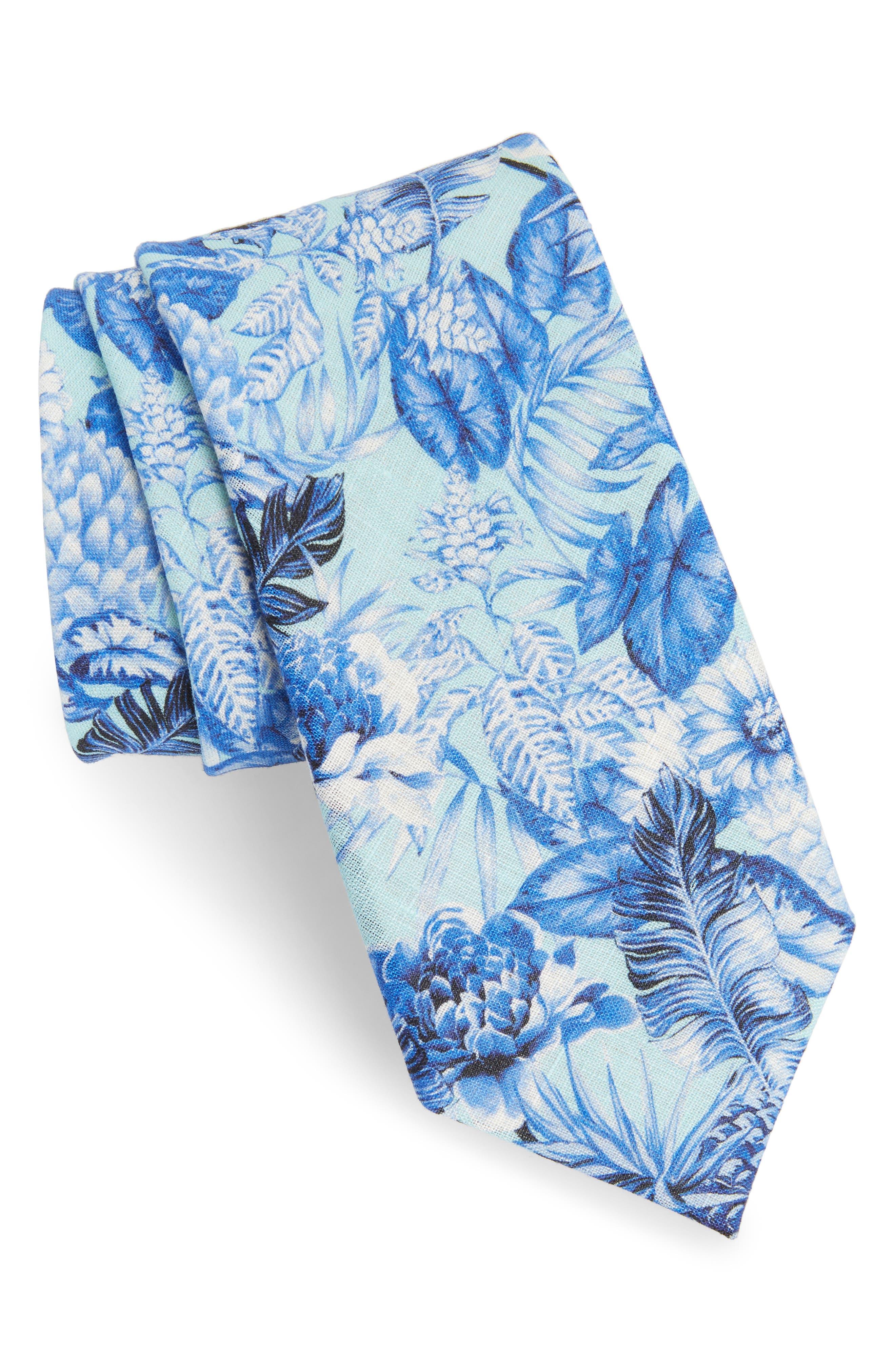 Tropic Fever Linen Tie,                             Main thumbnail 1, color,                             Island Paradise